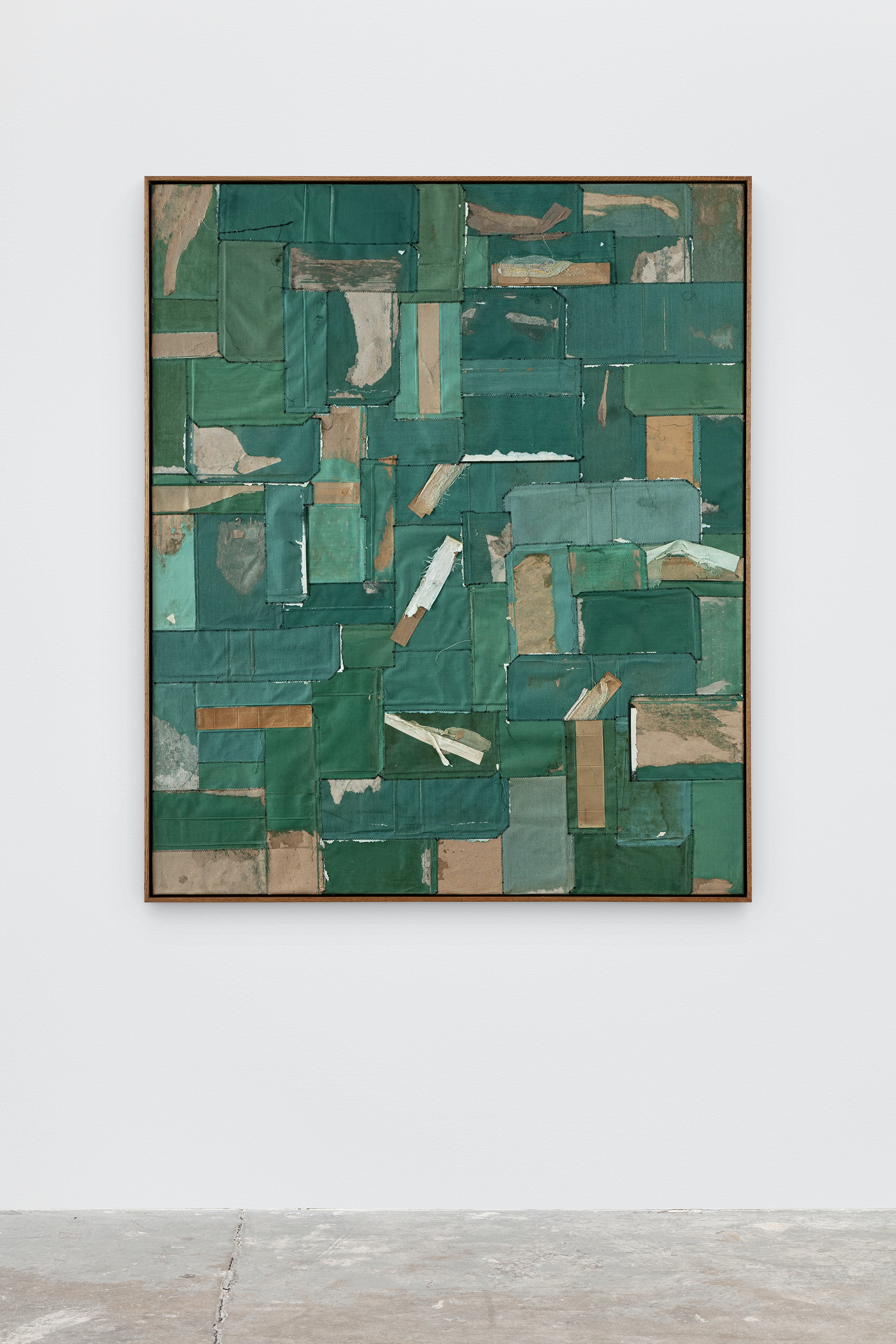 """Samuel Levi Jones """"Action Over Words,"""" 2021 Law book covers on canvas 60"""" x 50"""" [HxW] (152.4 x 127 cm) Inventory #JON139 Courtesy of the artist and Vielmetter Los Angeles Photo credit: Evan Bedford"""