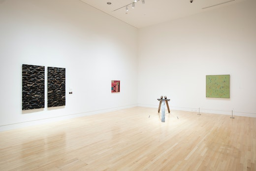 """This is an artwork titled Installation view, """"Samuel Levi Jones, Left of Center,"""" Indianapolis Museum of Art at Newfields by artist Samuel Levi Jones made in 2019"""