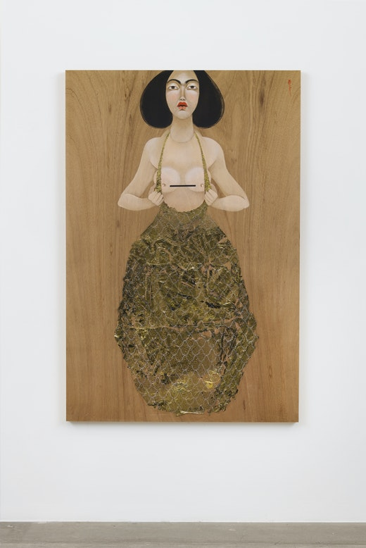 This is an artwork titled Boob Gold by artist Hayv Kahraman made in 2018