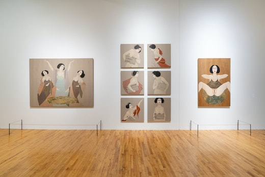 """Hayv Kahraman Installation view, """"Suffering from Realness,"""" Massachusetts Museum of Contemporary Art (March 31, 2019–February 2, 2020)"""