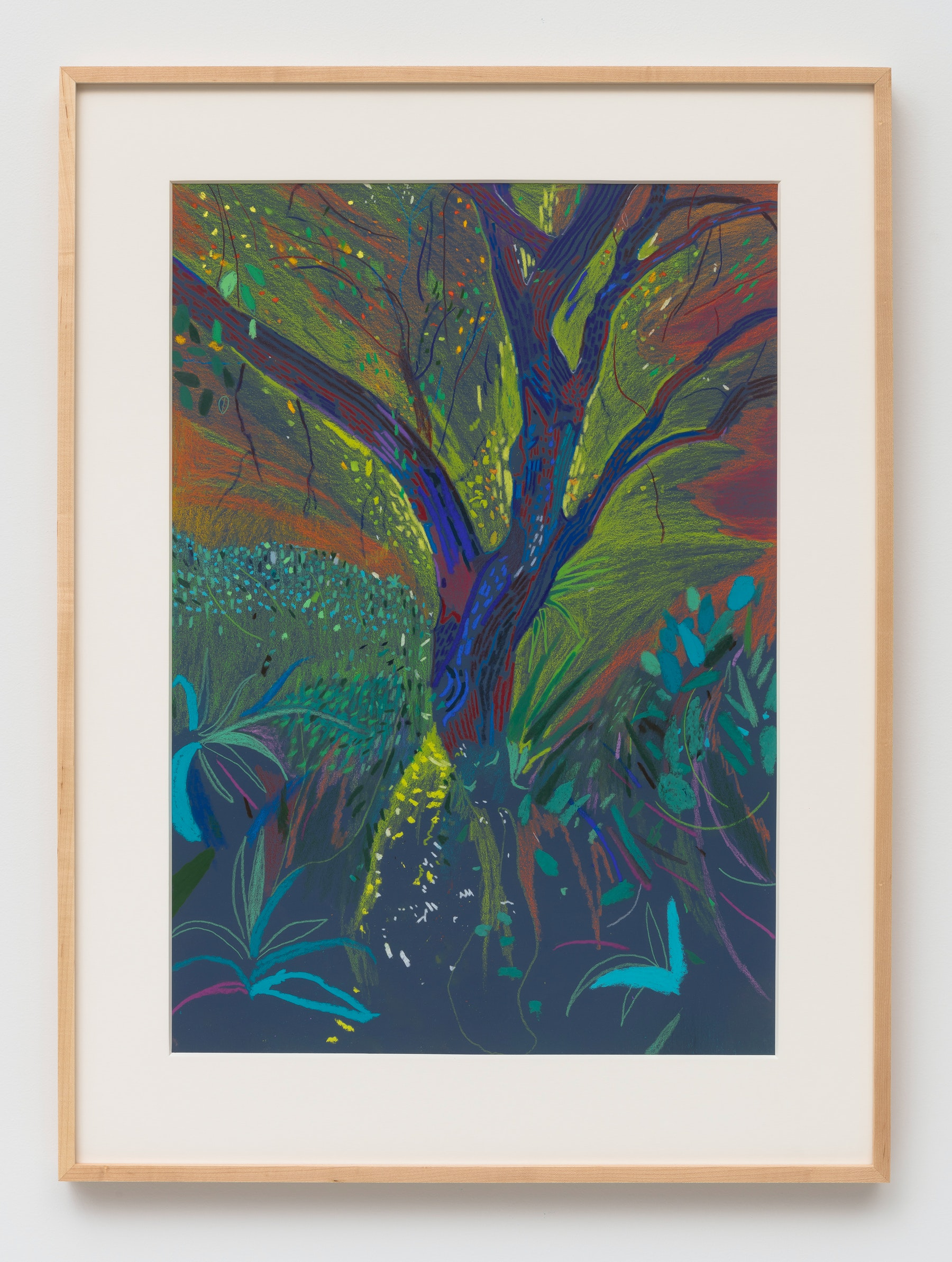 "Raffi Kalenderian ""Nick's Garden,"" 2020 Pastel and acrylic on paper 28 x 20"" [HxW] (71.12 x 50.8 cm); 33.5 x 25 x 1.5"" [HxWxD] (85.09 x 63.5 x 3.81 cm)framed Inventory #KAL278 Courtesy of the artist and Vielmetter Los Angeles Photo credit: Robert Wedemeyer"