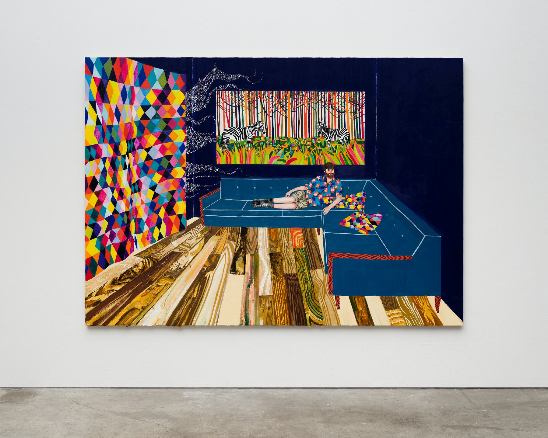 "Raffi Kalenderian ""Joe Barber,"" 2021 Oil on linen 70"" x 98"" [HxW] (177.8 x 248.92 cm) Inventory #KAL282 Courtesy of the artist and Vielmetter Los Angeles Photo credit: Fredrik Nilsen"