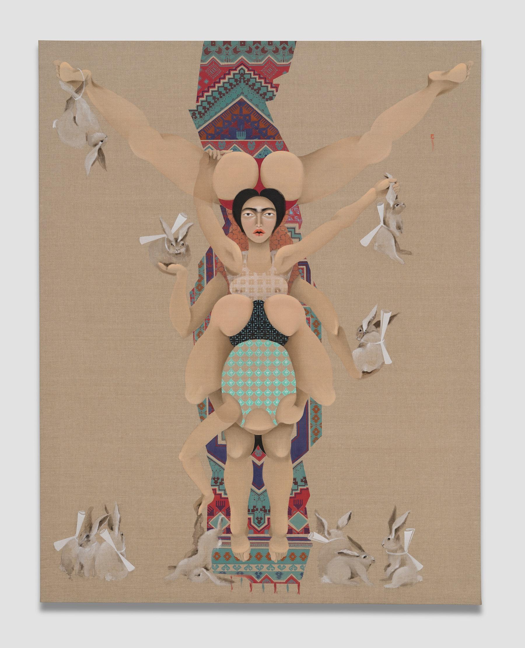 "Hayv Kahraman ""Bunnies,"" 2021 Oil on linen 77"" x 60"" [HxW] (195.58 x 152.4 cm) Inventory #KAR182 Courtesy of the artist and Vielmetter Los Angeles Photo credit: Jeff Mclane"