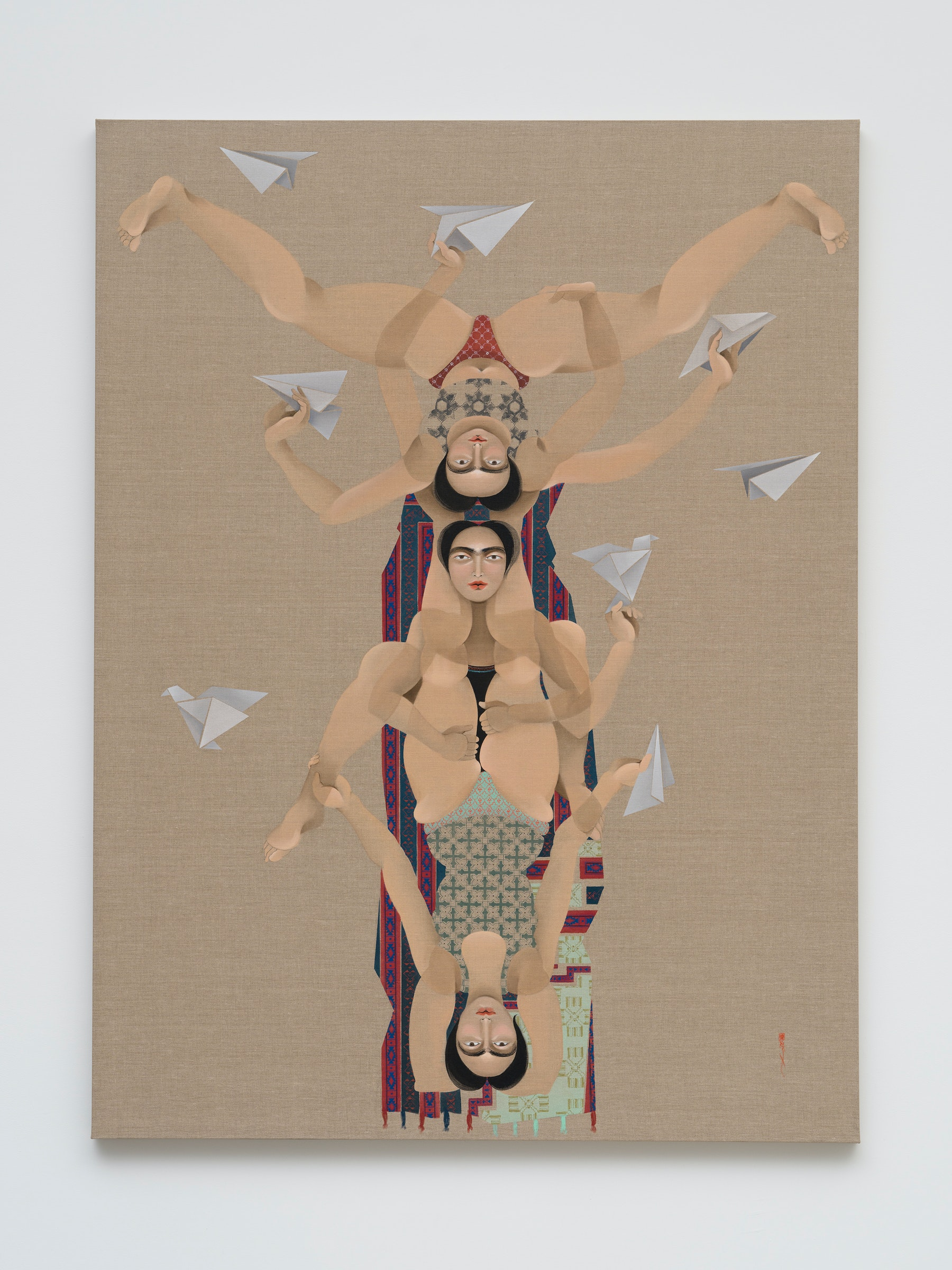 "Hayv Kahraman ""Paper planes,"" 2021 Oil on linen 80"" x 60"" [HxW] (203.2 x 152.4 cm) Inventory #KAR183 Courtesy of the artist and Vielmetter Los Angeles Photo credit: Jeff Mclane"