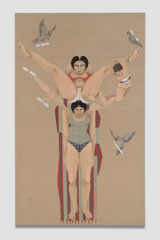 "Hayv Kahraman ""Pigeons,"" 2021 Oil on linen 85"" x 52"" [HxW] (215.9 x 132.08 cm) Inventory #KAR184 Courtesy of the artist and Vielmetter Los Angeles Photo credit: Jeff Mclane"