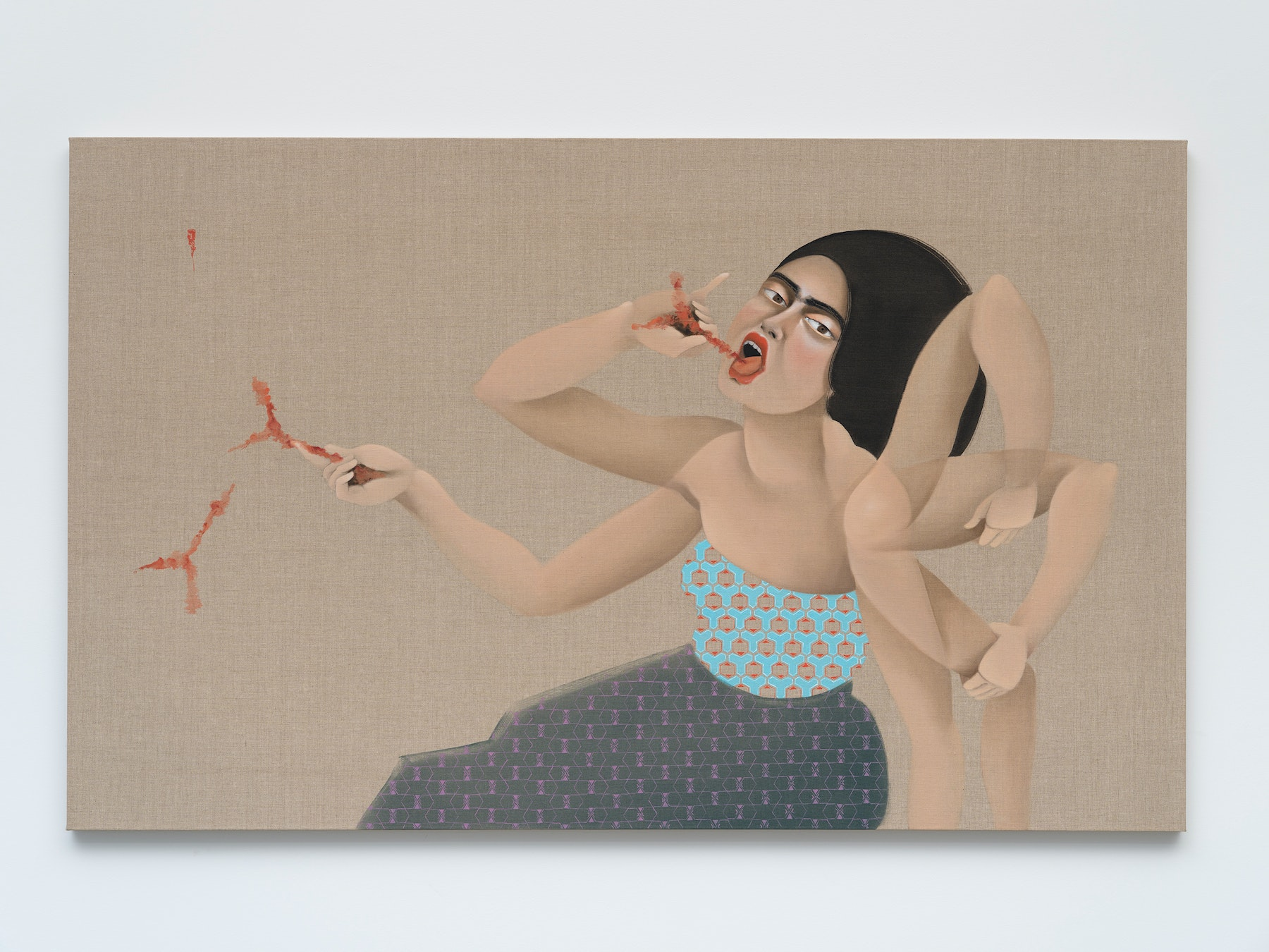 """Hayv Kahraman """"Swallowing Antibodies,"""" 2021 Oil on linen 42"""" x 68"""" [HxW] (106.68 x 172.72 cm) Inventory #KAR186 Courtesy of the artist and Vielmetter Los Angeles Photo credit: Jeff Mclane"""