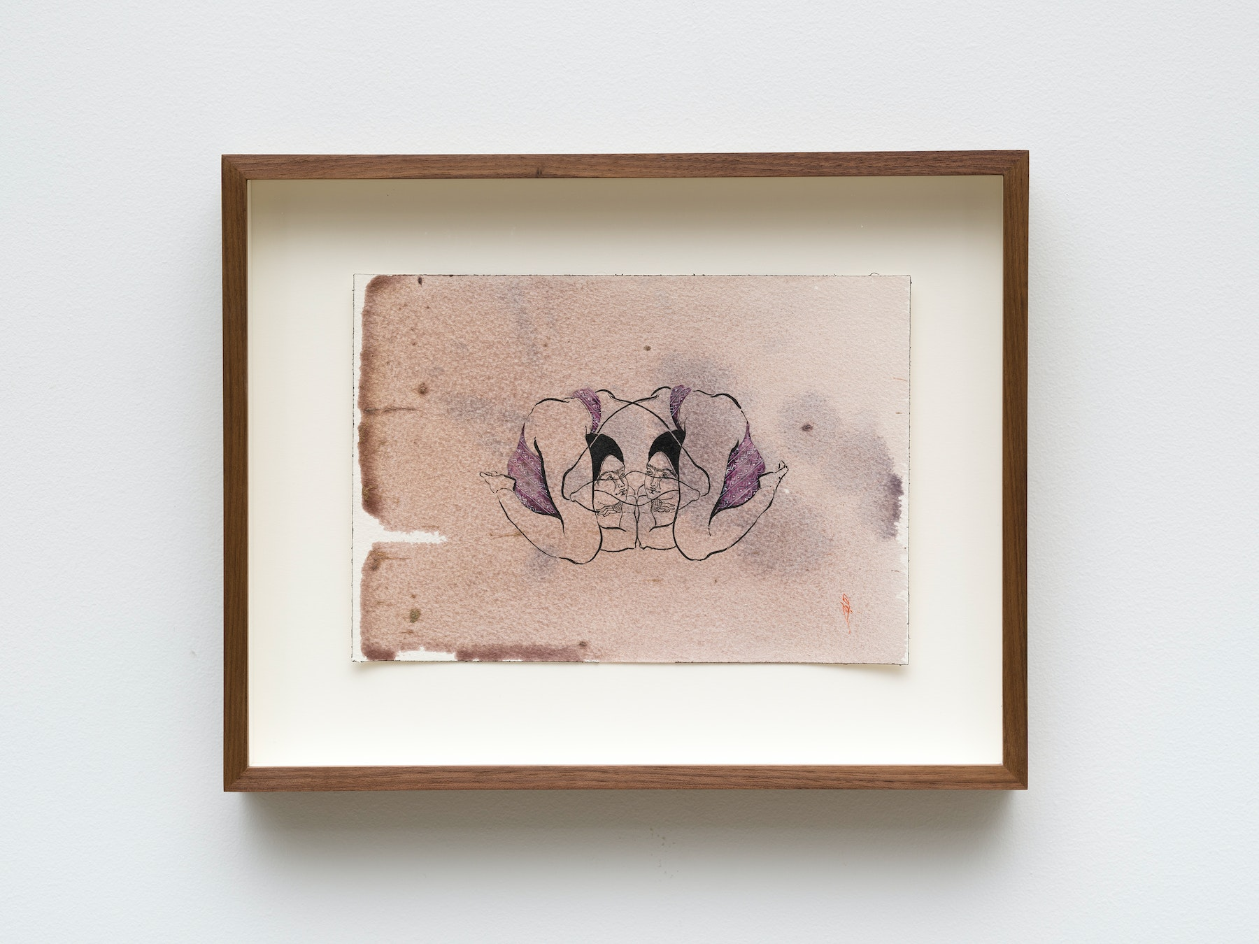 """Hayv Kahraman """"untitled,"""" 2021 Watercolor, gouache and dried pigment on paper 7"""" x 10"""" [HxW] (17.78 x 25.4 cm) paper size, 11 ¹⁄₂"""" x 14 ¹⁄₂"""" x 2"""" [HxWxD] (29.21 x 36.83 x 5.08 cm) framed Inventory #KAR187 Courtesy of the artist and Vielmetter Los Angeles Photo credit: Jeff Mclane"""