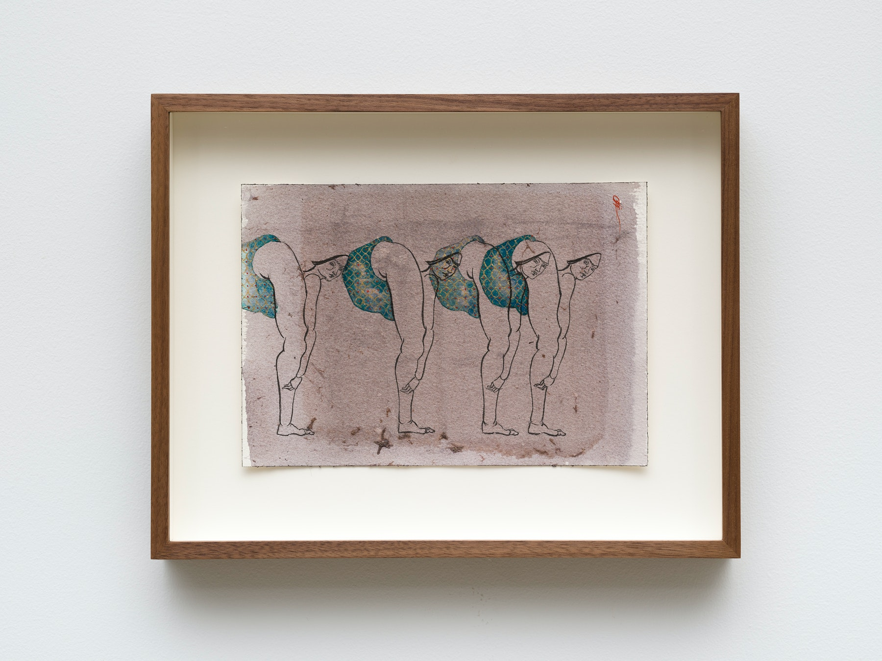 """Hayv Kahraman """"untitled,"""" 2021 Watercolor, gouache and dried pigment on paper 7"""" x 10"""" [HxW] (17.78 x 25.4 cm) paper size, 11 ¹⁄₂"""" x 14 ¹⁄₂"""" x 2"""" [HxWxD] (29.21 x 36.83 x 5.08 cm) framed Inventory #KAR188 Courtesy of the artist and Vielmetter Los Angeles Photo credit: Jeff Mclane"""