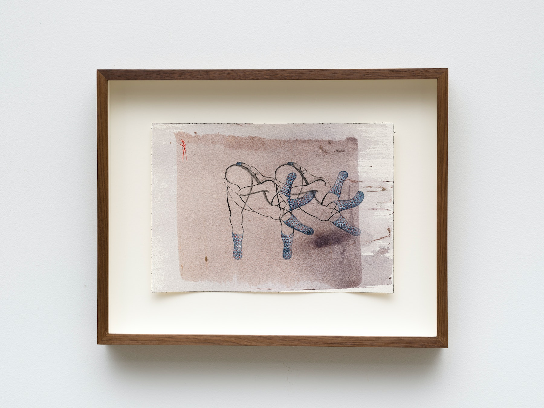 """Hayv Kahraman """"untitled,"""" 2021 Watercolor, gouache and dried pigment on paper 7"""" x 10"""" [HxW] (17.78 x 25.4 cm) paper size, 11 ¹⁄₂"""" x 14 ¹⁄₂"""" x 2"""" [HxWxD] (29.21 x 36.83 x 5.08 cm) framed Inventory #KAR189 Courtesy of the artist and Vielmetter Los Angeles Photo credit: Jeff Mclane"""
