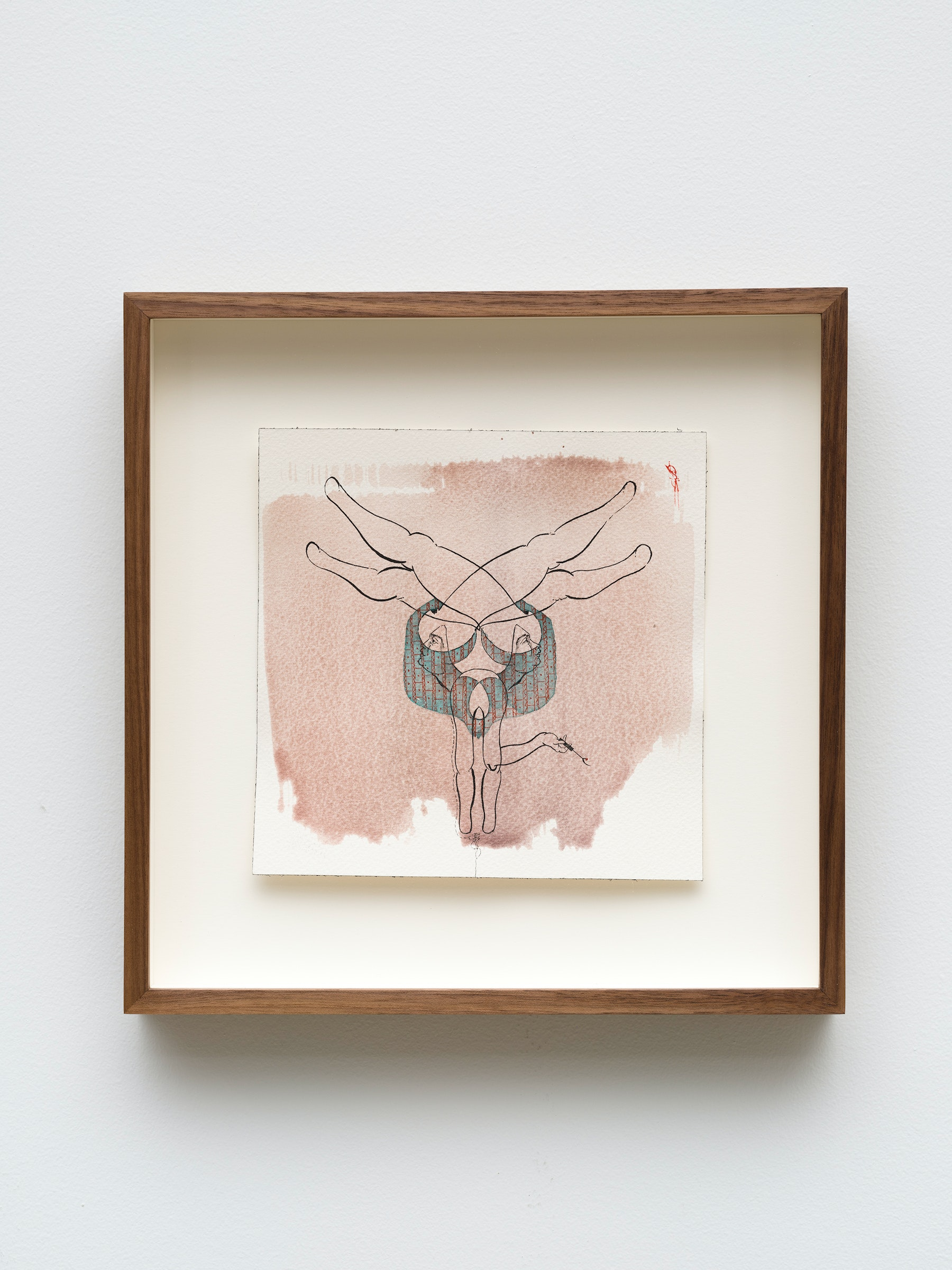"""Hayv Kahraman """"untitled,"""" 2021 Watercolor, gouache and dried pigment on paper 7 ²⁹⁄₃₂"""" x 7 ²⁹⁄₃₂"""" [HxW] (20.06 x 20.06 cm) paper size, 12 ¹⁄₂"""" x 12 ¹⁄₂"""" x 2"""" [HxWxD] (31.75 x 31.75 x 5.08 cm) framed Inventory #KAR191 Courtesy of the artist and Vielmetter Los Angeles Photo credit: Jeff Mclane"""