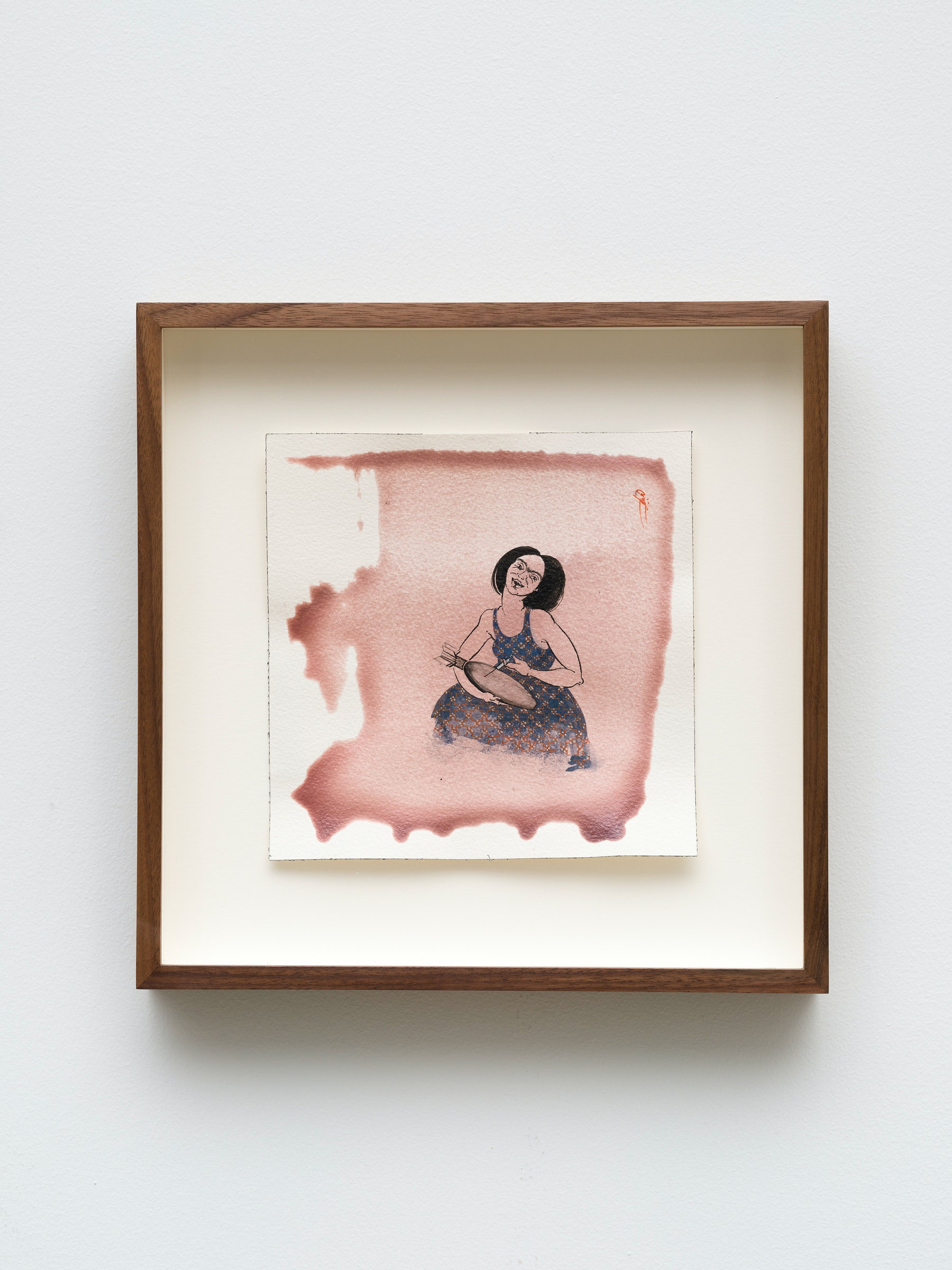 """Hayv Kahraman """"untitled,"""" 2021 Watercolor, gouache and dried pigment on paper 7 ²⁹⁄₃₂"""" x 7 ²⁹⁄₃₂"""" [HxW] (20.06 x 20.06 cm) paper size, 12 ¹⁄₂"""" x 12 ¹⁄₂"""" x 2"""" [HxWxD] (31.75 x 31.75 x 5.08 cm) framed Inventory #KAR193 Courtesy of the artist and Vielmetter Los Angeles Photo credit: Jeff Mclane"""