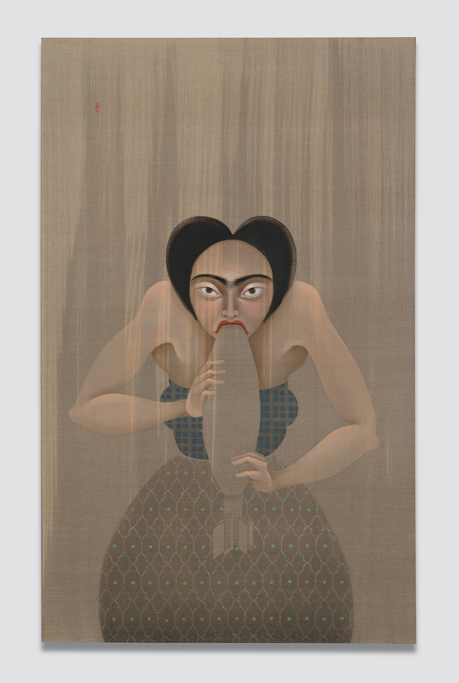 """Hayv Kahraman """"Say Aah,"""" 2021 Oil on linen 68"""" x 42"""" [HxW] (172.72 x 106.68 cm) Inventory #KAR194 Courtesy of the artist and Vielmetter Los Angeles Photo credit: Jeff Mclane"""