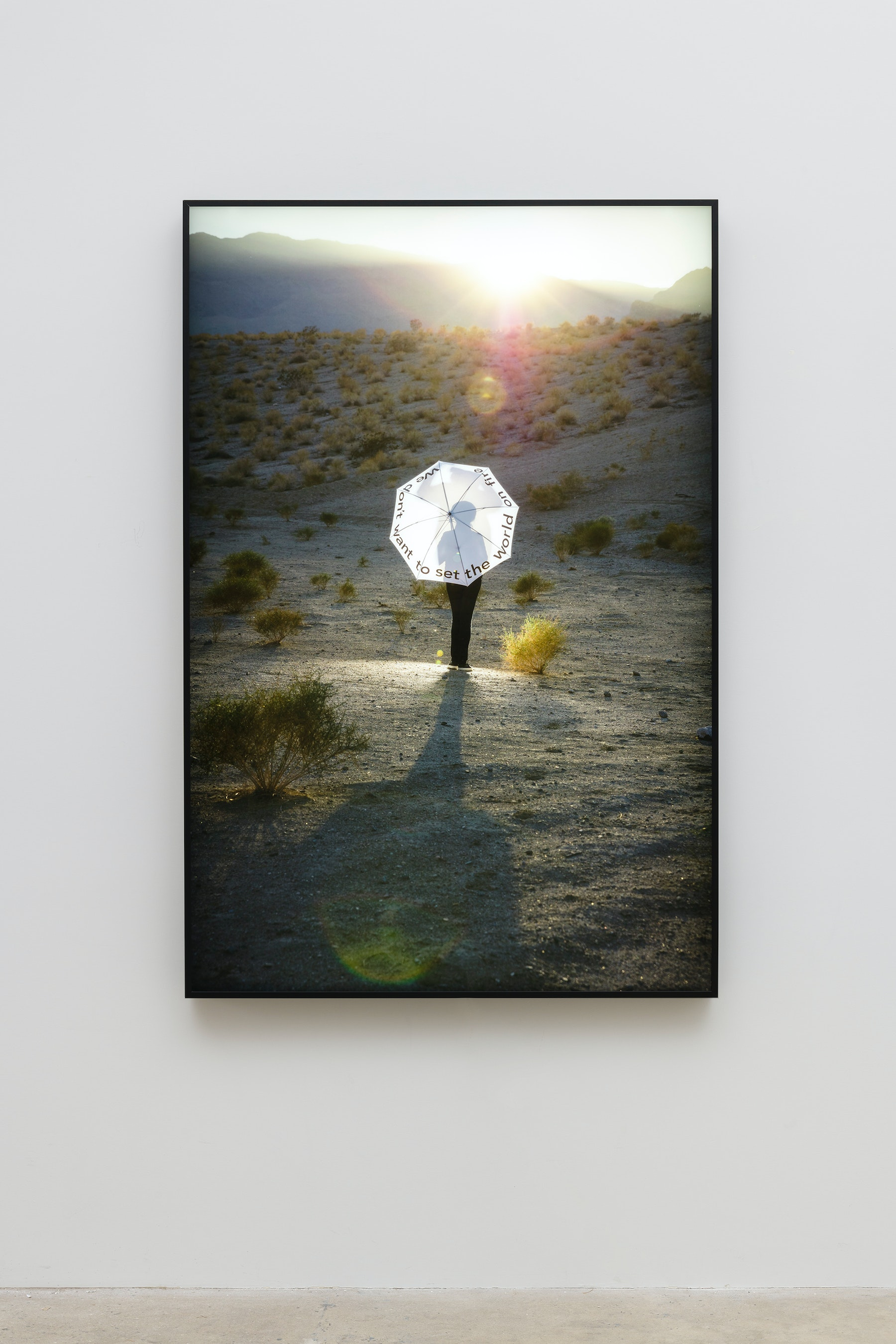 """Mary Kelly """"We don't want to set the world on fire,"""" 2019 Duratran mounted on1/4 inch acryilc, powder coated aluminum LED light box 67.875 x 45.375 x 2.75"""" [HxWxD] (172.4 x 115.25 x 6.98 cm) Edition 1 of 2, 1 AP Inventory #KEL159.01 Courtesy of the artist and Vielmetter Los Angeles Photo credit: Jeff McLane"""