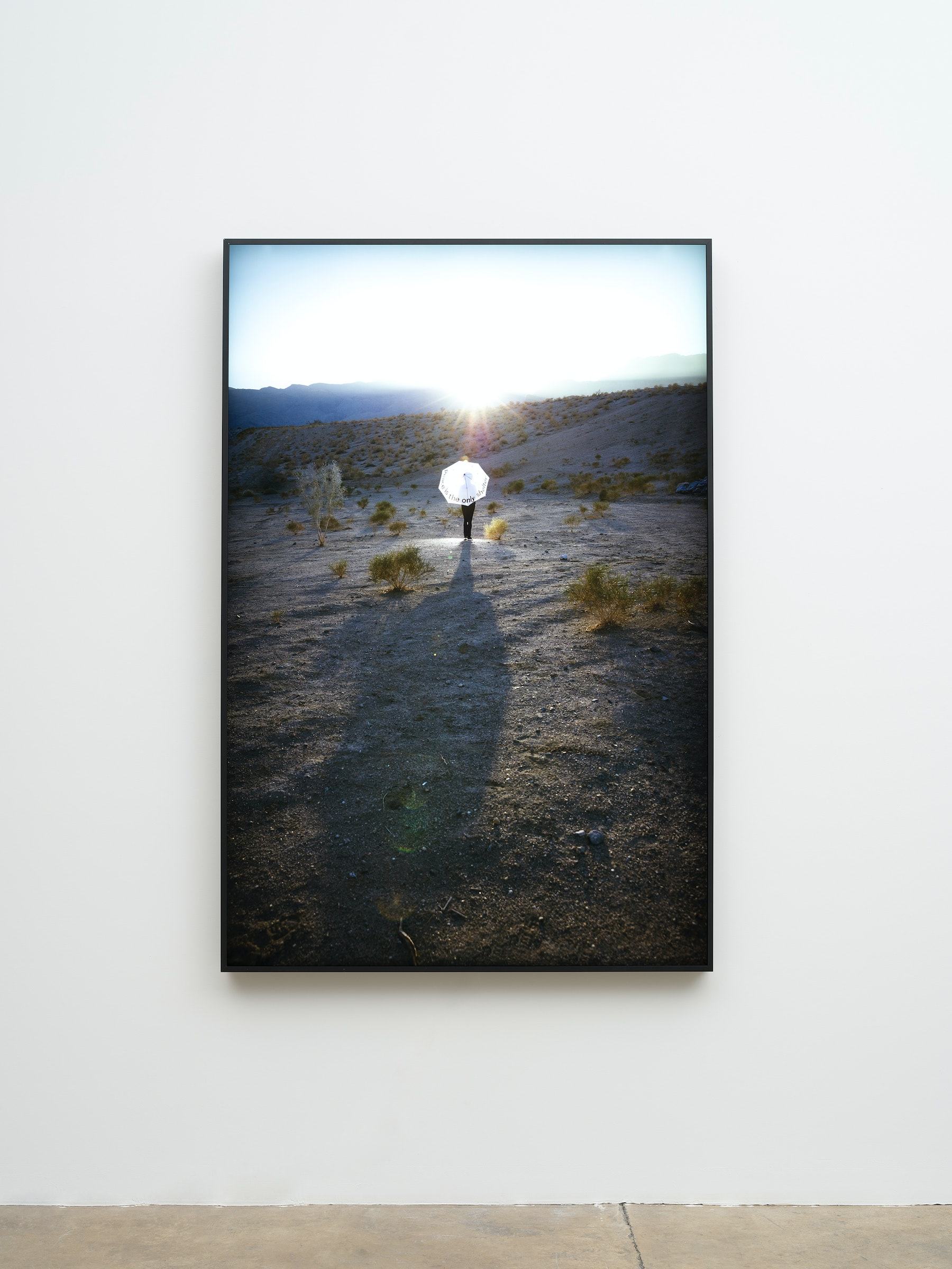 """Mary Kelly """"Peace is the only shelter,"""" 2019 Duratran mounted on1/4 inch acryilc, powder coated aluminum LED light box 67.875 x 45.375 x 2.75"""" [HxWxD] (172.4 x 115.25 x 6.98 cm) Edition 1 of 2, 1 AP Inventory #KEL160.01 Courtesy of the artist and Vielmetter Los Angeles Photo credit: Jeff Mclane"""