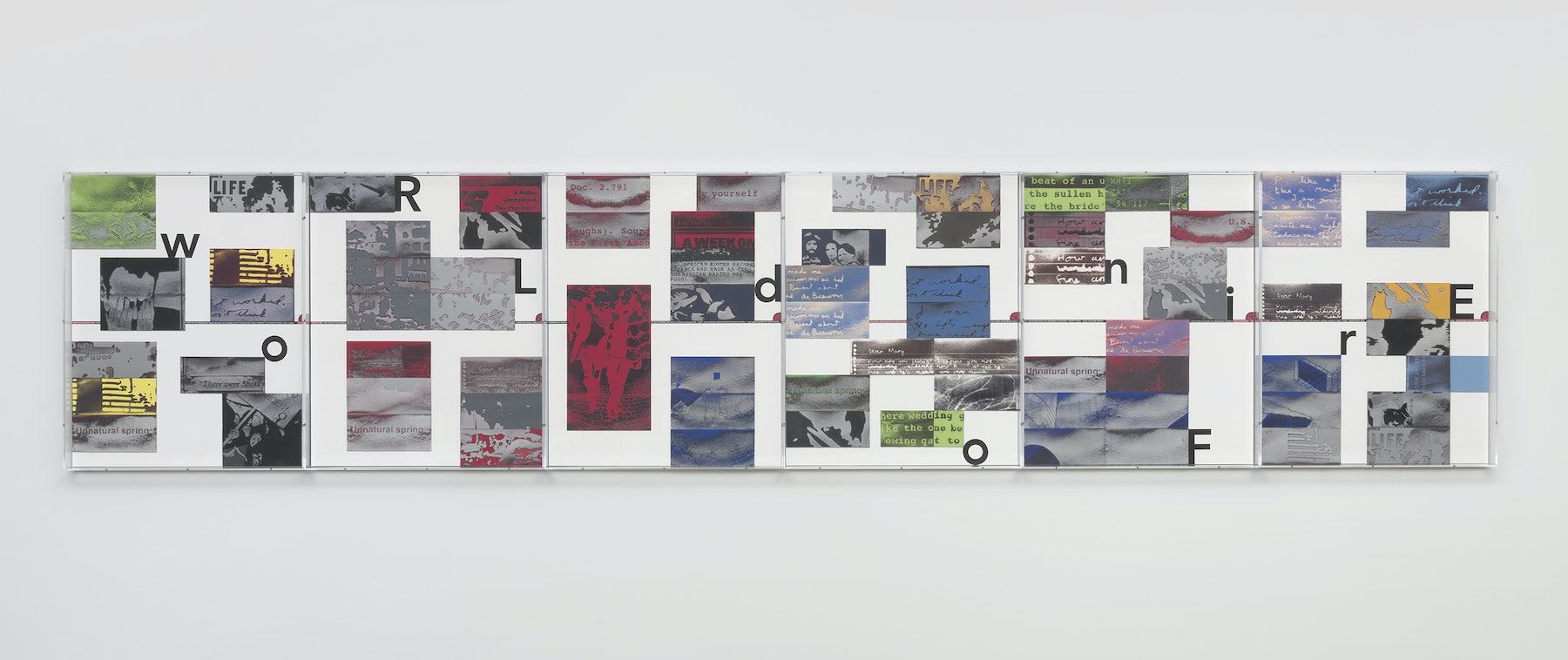 """Mary Kelly """"World on Fire Timeline,"""" 2020 Compressed lint, archival mount board, paper, ink, acrylic box frames 40.5 x 195 x 3.25"""" [HxWxD] (102.87 x 495.3 x 8.26 cm) Inventory #KEL164 Photo credit: Robert Wedemeyer"""