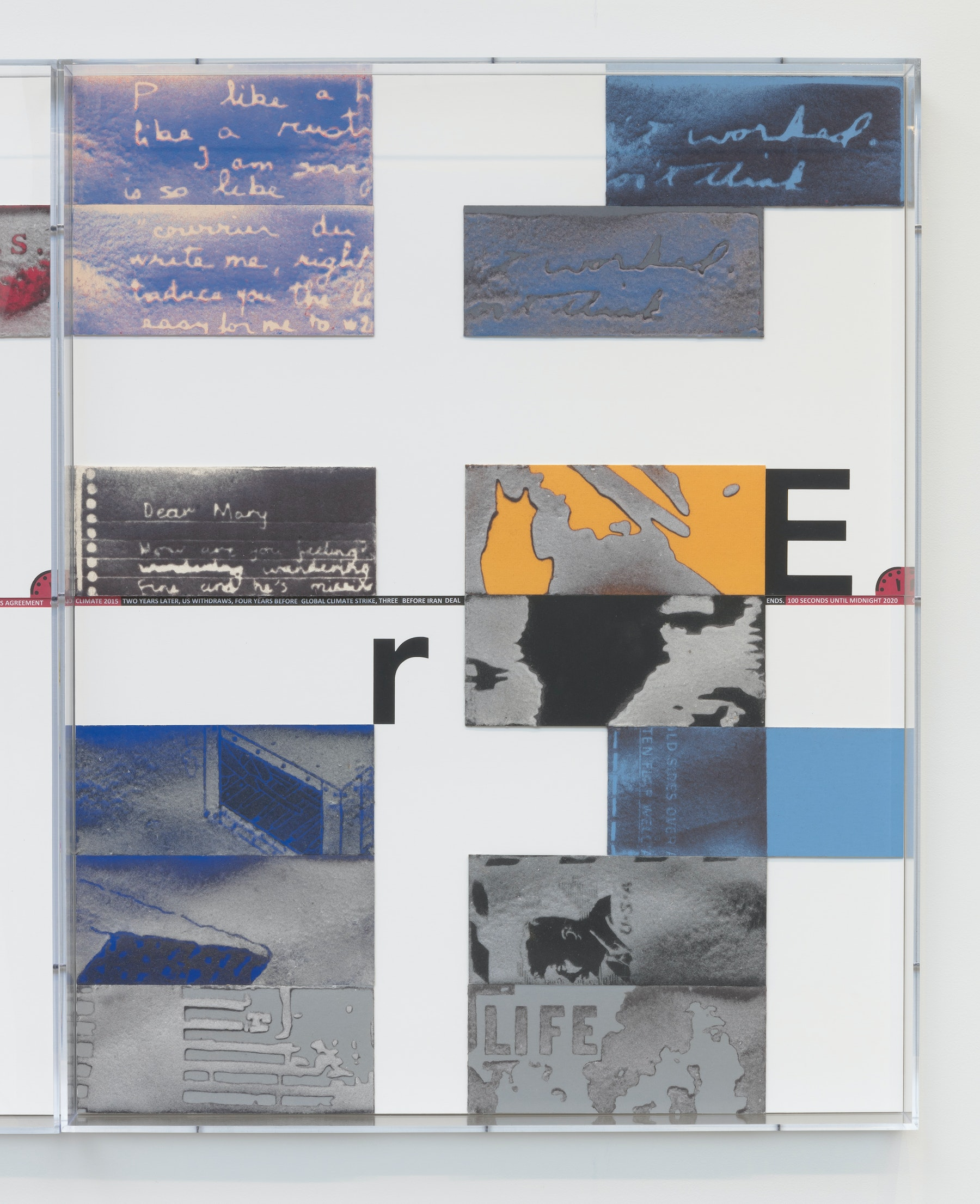 "Mary Kelly ""World on Fire Timeline,"" 2020 Compressed lint, archival mount board, paper, ink, acrylic box frames 40.5 x 32.5 x 3.25"" [HxWxD] (102.87 x 82.55 x 8.25 cm) 6 parts, 40.5 x 195 x 3.25"" [HxWxD] (102.87 x 495.3 x 8.25 cm) overall Inventory #KEL164 Photo credit: Robert Wedemeyer"