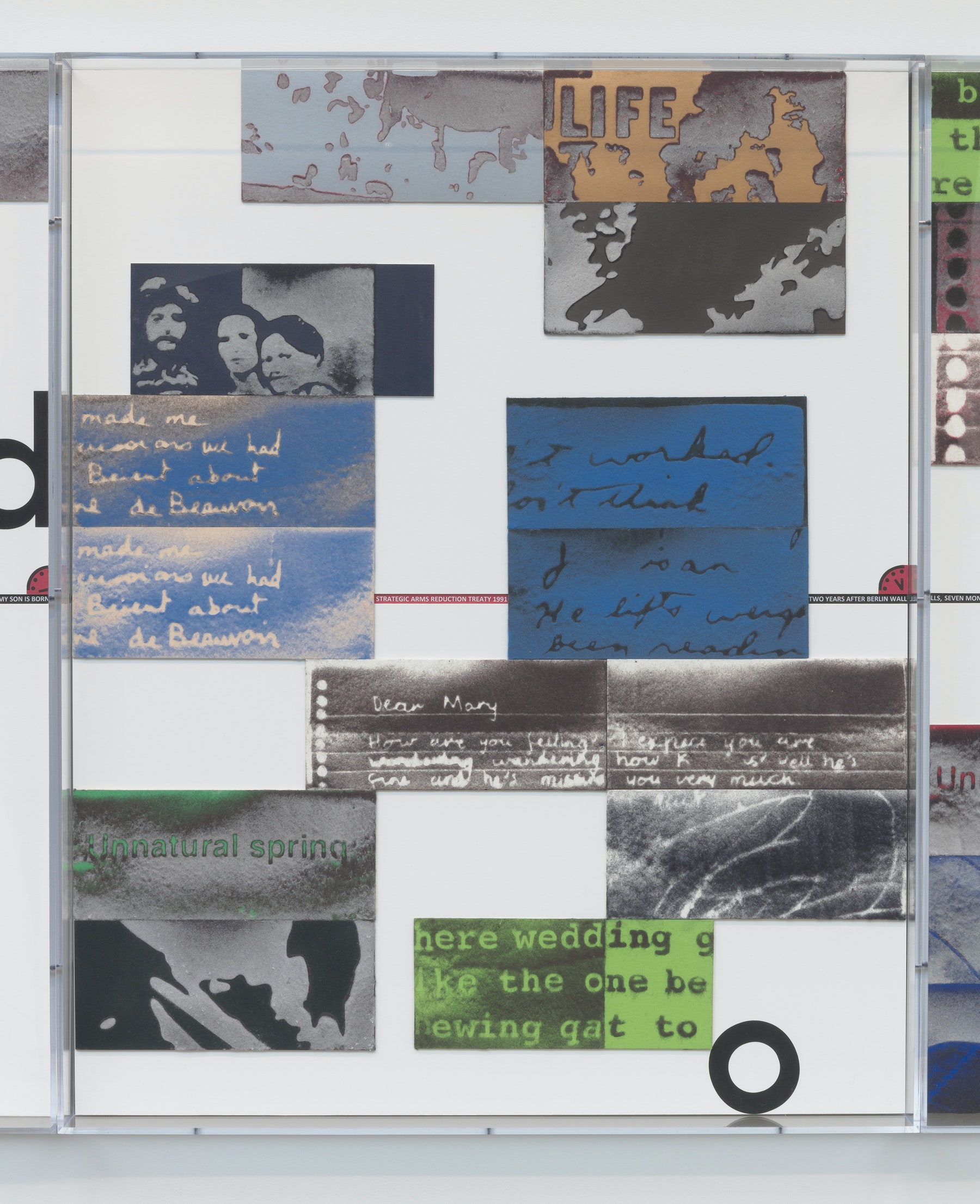 """Mary Kelly """"World on Fire Timeline,"""" 2020 Compressed lint, archival mount board, paper, ink, acrylic box frames 40.5 x 32.5 x 3.25"""" [HxWxD] (102.87 x 82.55 x 8.25 cm) 6 parts, 40.5 x 195 x 3.25"""" [HxWxD] (102.87 x 495.3 x 8.25 cm) overall Inventory #KEL164 Photo credit: Robert Wedemeyer"""