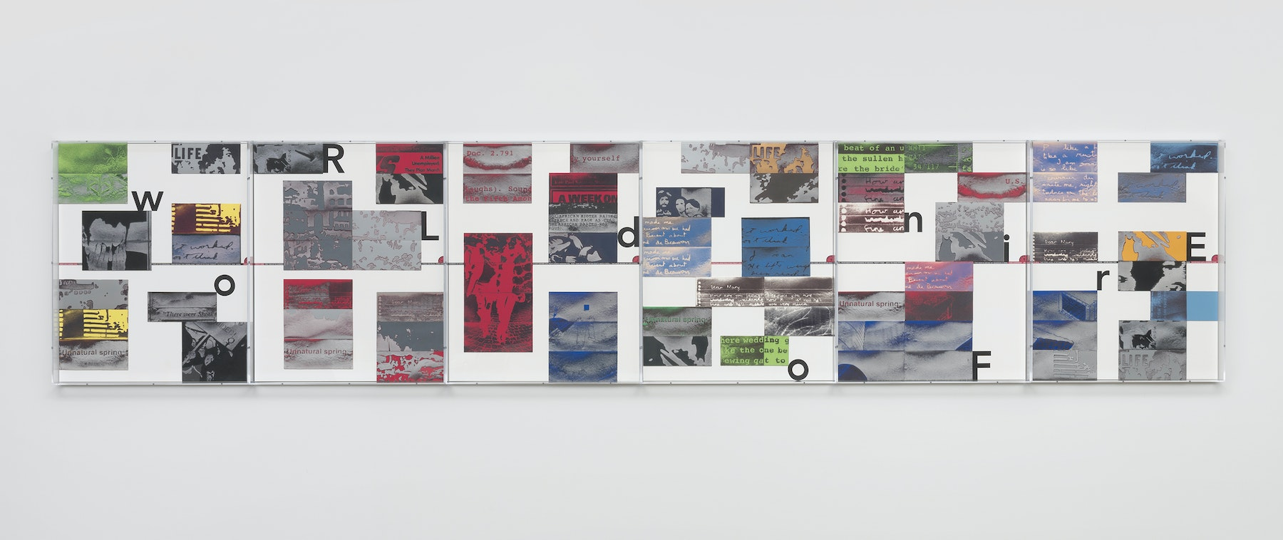 """Mary Kelly """"World on Fire Timeline,"""" 2020 Compressed lint, archival mount board, paper, ink, acrylic box frames 6 units, 32 x 40 x 3 1/4 inches each, 16 feet overall Inventory #KEL164 Photo credit: Robert Wedemeyer"""