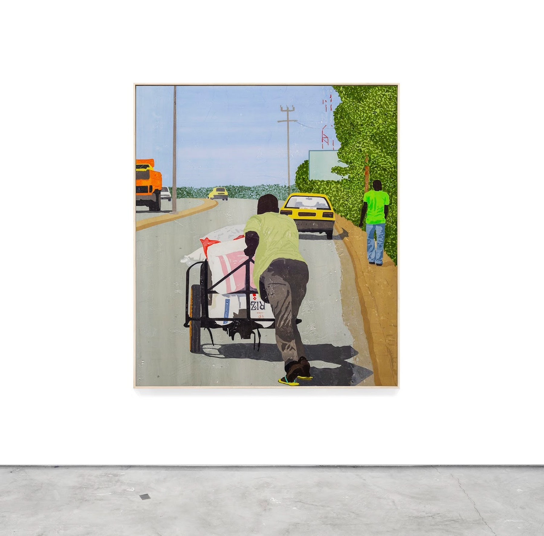"""Hugo McCloud """"Right of Way,"""" 2021 Plastic merchandise bags on wood panel 77"""" x 67"""" [HxW] (195.58 x 170.18 cm) Inventory #MCC149 Courtesy of the artist and Vielmetter Los Angeles"""