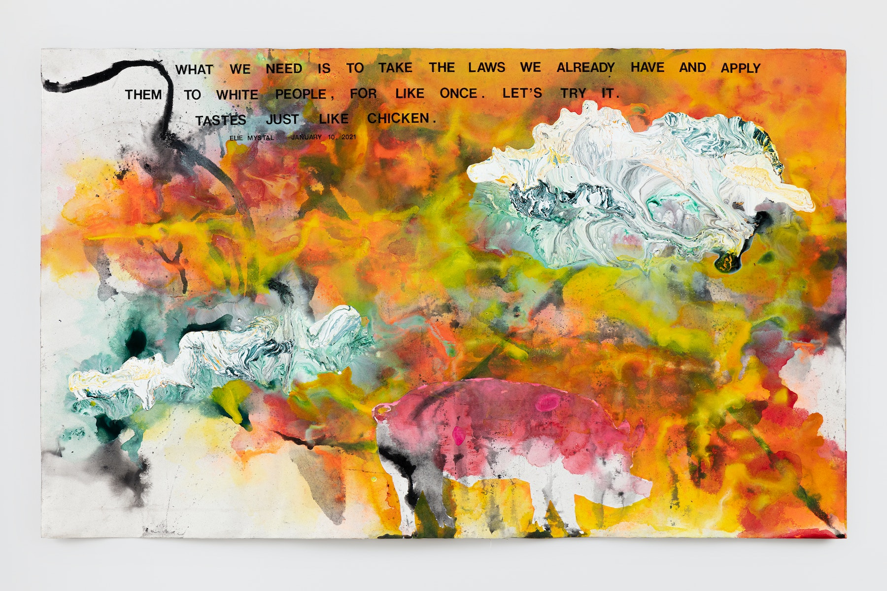 """Rodney McMillian """"Elie Mystal, January 10, 2021,"""" 2021 Ink, acrylic, latex, paper, on paper mounted on canvas 51"""" x 83 ¹⁄₂"""" [HxW] (129.54 x 212.09 cm) Inventory #MCR418 Courtesy of the artist and Vielmetter Los Angeles Photo credit: Evan Bedford"""