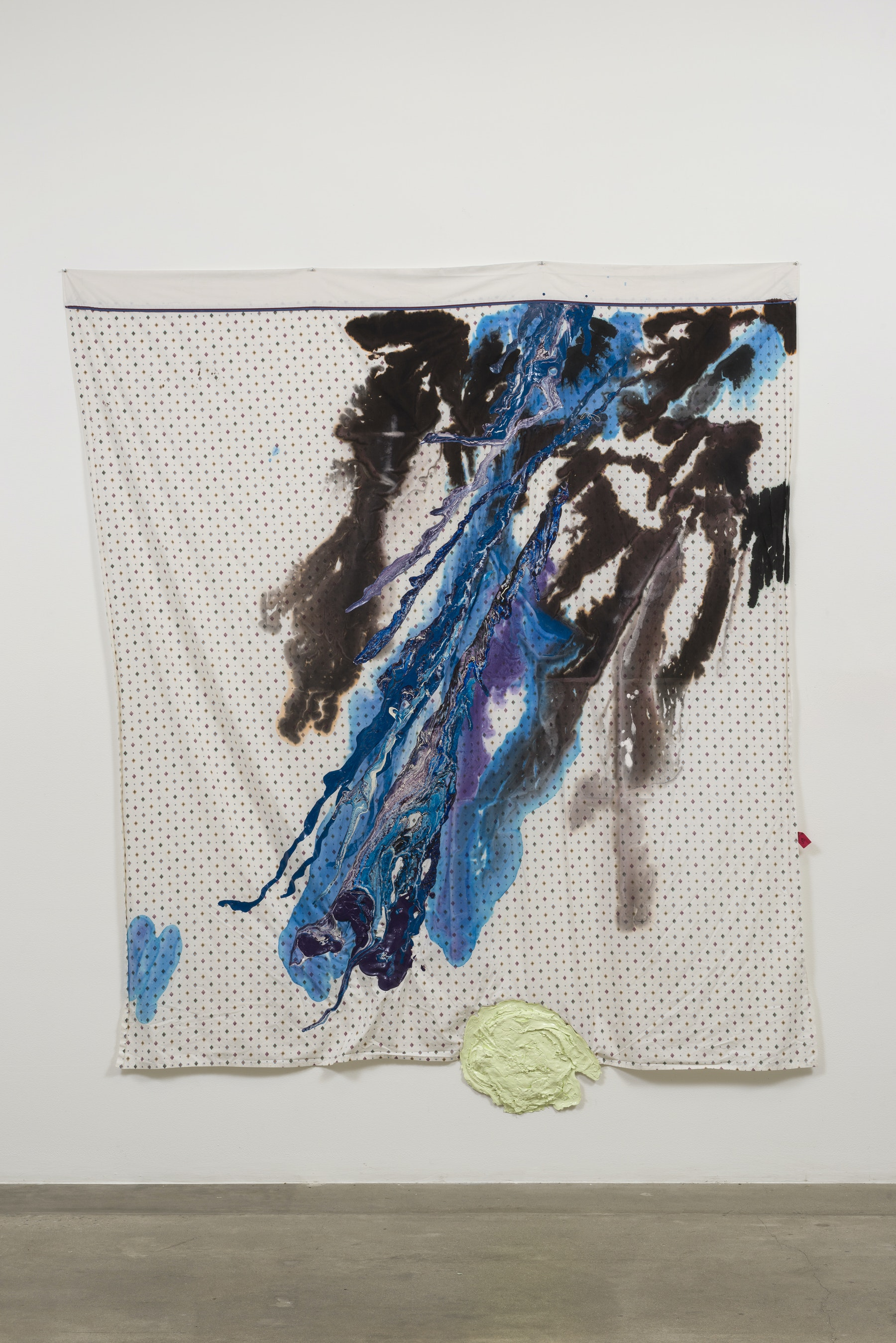 "Rodney McMillian ""Untitled (Southwest pattern),"" 2015 Latex and ink on bedsheet 100"" H x 87"" W (254 cm H x 220.98 cm W) Inventory #MCR307 Courtesy of the artist and Vielmetter Los Angeles Photo credit: Jeff McLane"