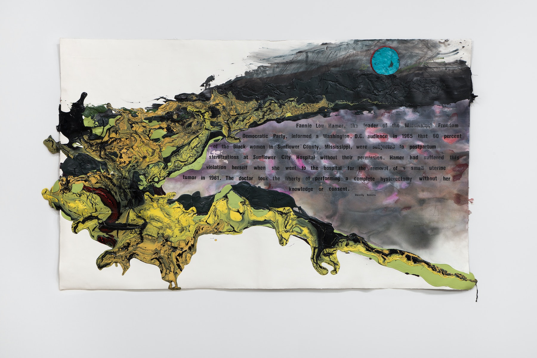 "Rodney McMillian ""Mississippi Appendectomy,"" 2020 Ink, acrylic, latex, and vinyl on paper mounted on canvas 53 x 90"" [HxW] (134.62 x 228.6 cm) Inventory #MCR405 Courtesy of the artist and Vielmetter Los Angeles Photo credit: Brica Wilcox"