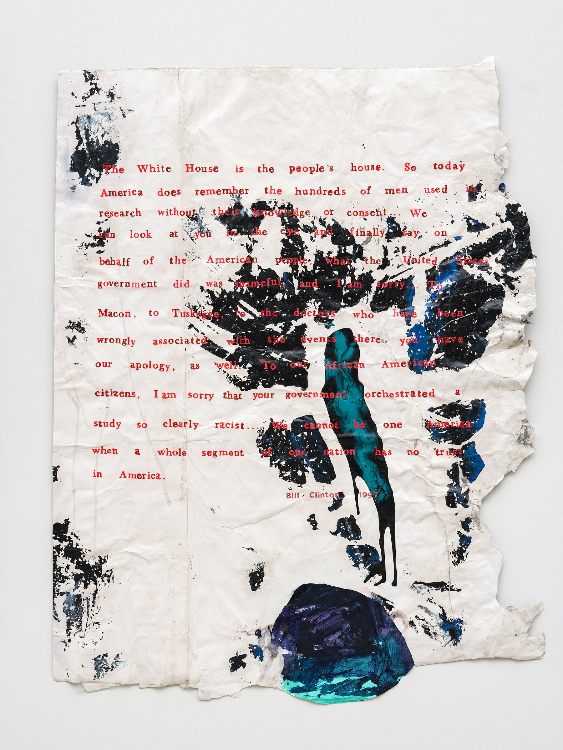 "Rodney McMillian ""President Bill Clinton, May 16, 1997 - Apology for study done in Tuskeegee (US Public Health Service Syphillis Study at Tuskeegee),"" 2020 Ink, acrylic, latex, paper, on paper mounted on canvas 53 x 42"" [HxW] (134.62 x 106.68 cm) Inventory #MCR411 Courtesy of the artist and Vielmetter Los Angeles Photo credit: Jeff Mclane"