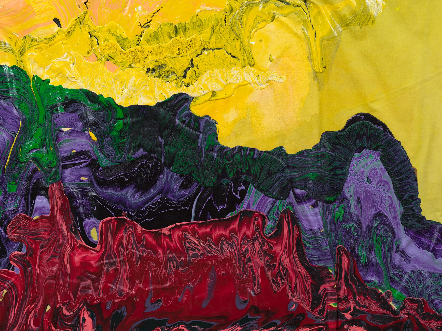 """Rodney McMillian """"Sun with landscape,"""" 2021 Latex, acrylic and ink on bedsheet 97"""" x 71"""" x 3"""" [HxWxD] (246.38 x 180.34 x 7.62 cm) Inventory #MCR420 Courtesy of the artist and Vielmetter Los Angeles Photo credit: Jeff McLane"""