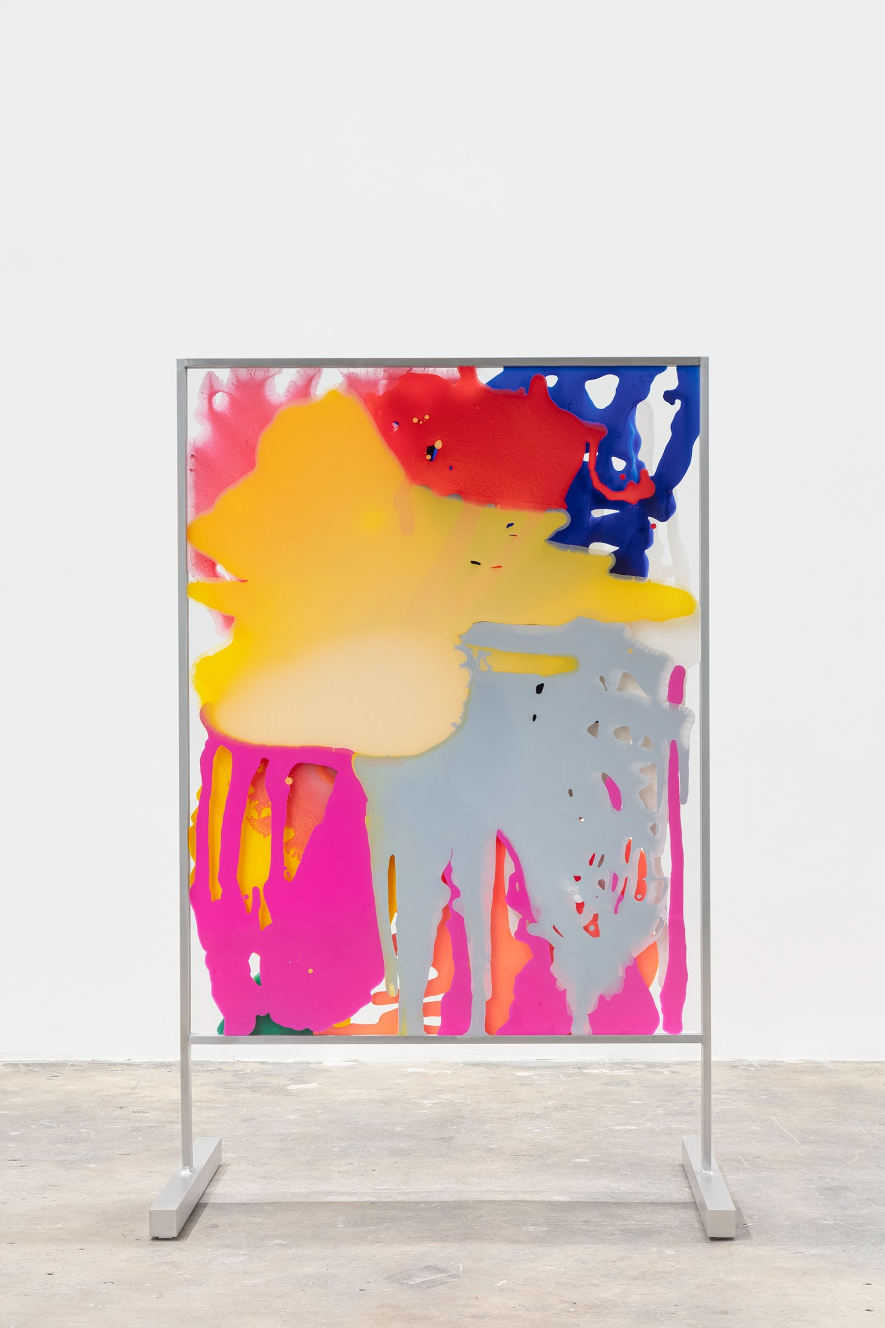 """Yunhee Min """"Vitreous Opacities (Double Floor #1),"""" 2021 Enamel, acrylic on tempered starphire glass with custom aluminum frame 65 ¹⁄₄"""" x 41"""" x 28 ¹⁄₂"""" [HxWxD] (165.74 x 104.14 x 72.39 cm) Inventory #MIN346 Courtesy of the artist and Vielmetter Los Angeles Photo credit: Evan Bedford"""