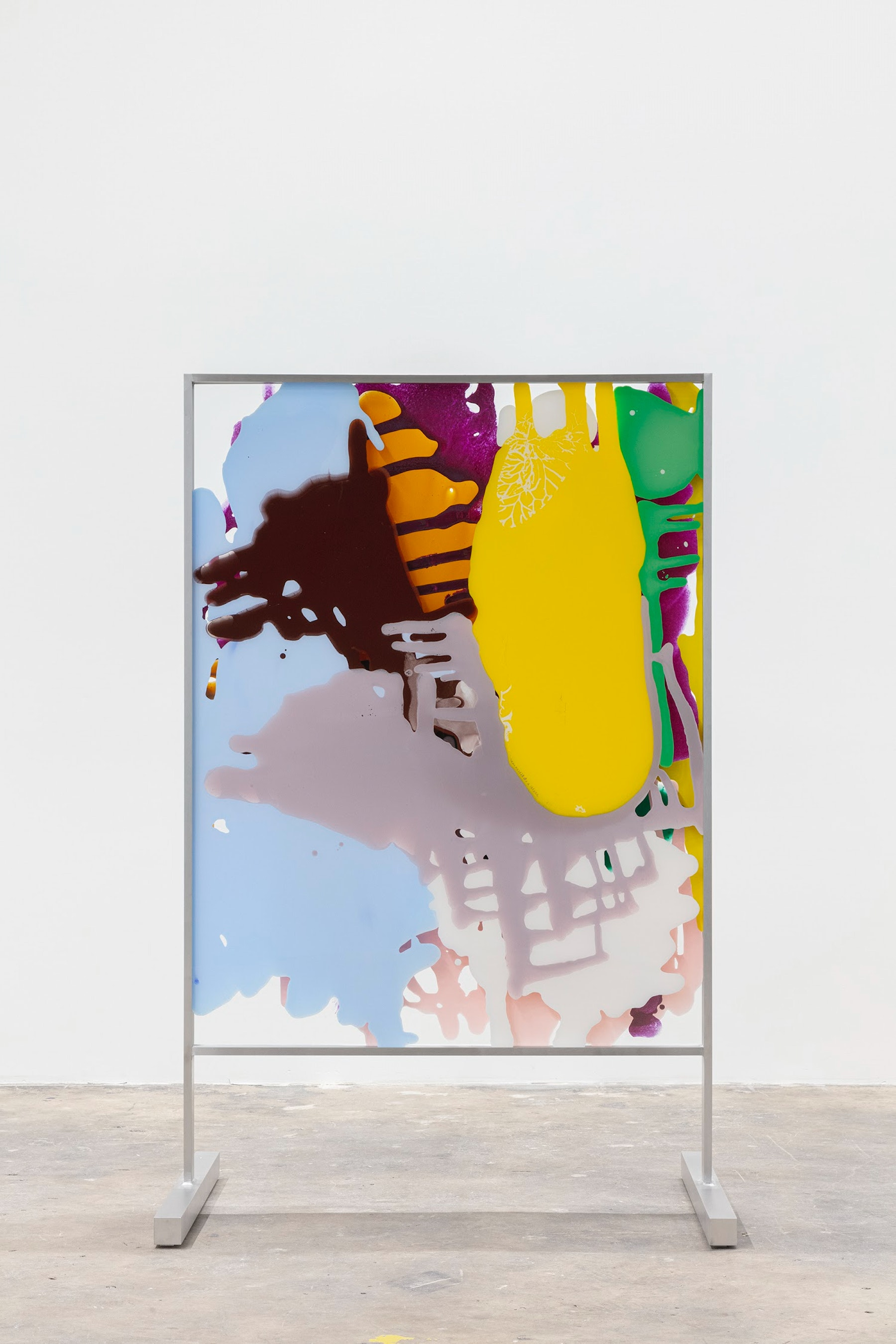 """Yunhee Min """"Vitreous Opacities (Double Floor #2),"""" 2021 Enamel, acrylic on tempered starphire glass with custom aluminum frame 65 ¹⁄₄"""" x 41"""" x 28 ¹⁄₂"""" [HxWxD] (165.74 x 104.14 x 72.39 cm) Inventory #MIN347 Courtesy of the artist and Vielmetter Los Angeles Photo credit: Evan Bedford"""