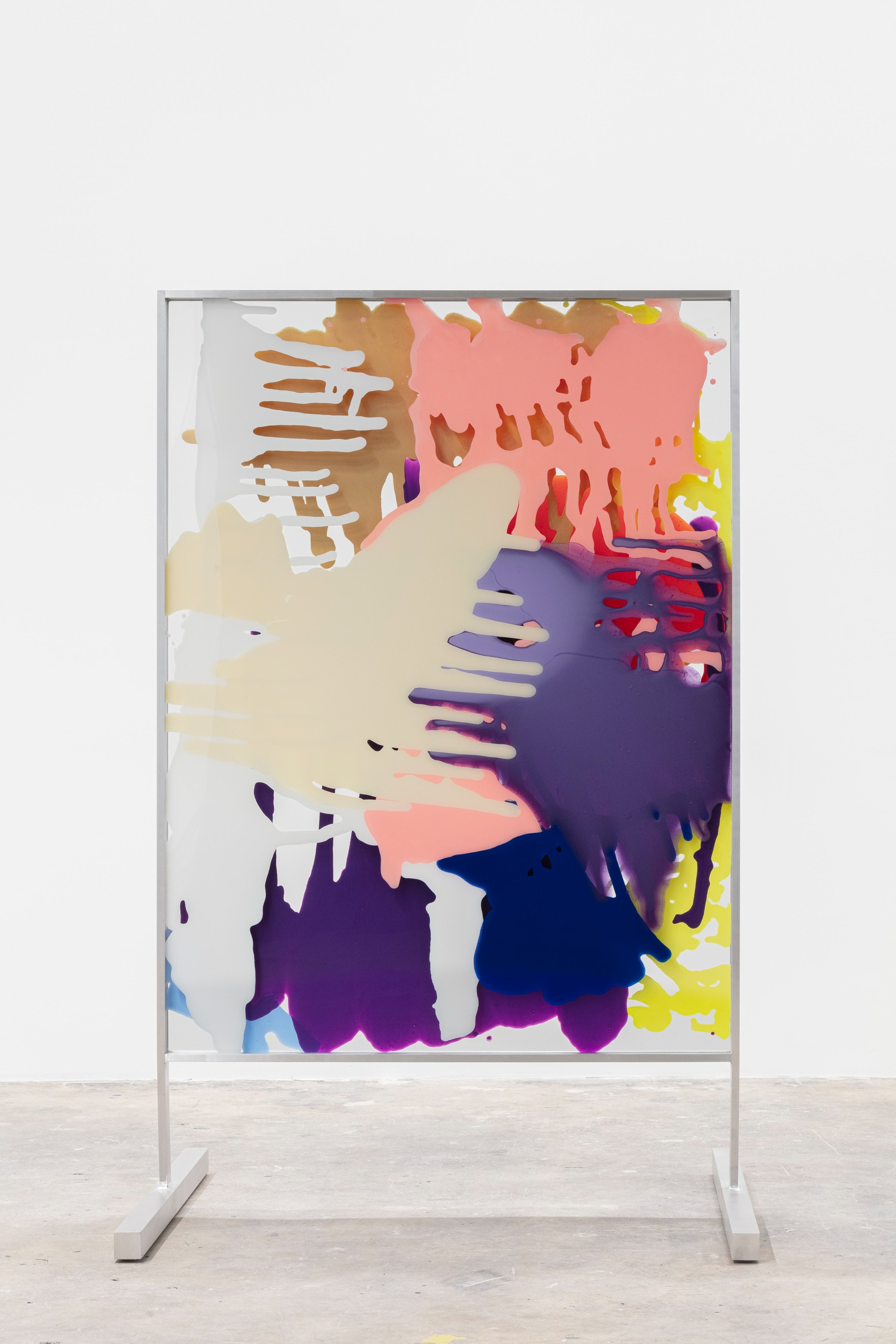 """Yunhee Min """"Vitreous Opacities (Double Floor #3),"""" 2021 Enamel, acrylic on tempered starphire glass with custom aluminum frame 73 ¹⁄₄"""" x 46"""" x 34 ¹⁄₄"""" [HxWxD] (186.06 x 116.84 x 87 cm) Inventory #MIN348 Courtesy of the artist and Vielmetter Los Angeles Photo credit: Evan Bedford"""