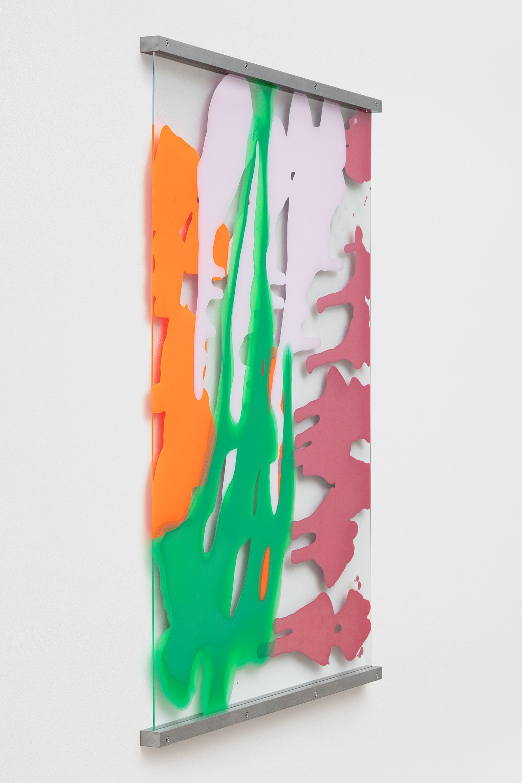 """Yunhee Min """"Vitreous Opacities (Single Wall #1),"""" 2021 Enamel, acrylic on tempered starphire glass with aluminum frame 45"""" x 34"""" [HxW] (114.3 x 86.36 cm); 46 ¹⁄₂"""" x 35"""" x 1 ¹⁄₂"""" [HxWxD] (118.11 x 88.9 x 3.81 cm) framed Inventory #MIN349 Courtesy of the artist and Vielmetter Los Angeles Photo credit: Evan Bedford"""