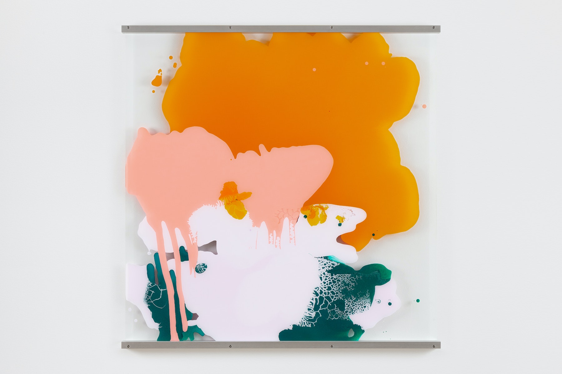 """Yunhee Min """"Vitreous Opacities (Single Wall #5),"""" 2021 Enamel, acrylic on tempered starphire glass with aluminum frame 45"""" x 45"""" [HxW] (114.3 x 114.3 cm); 46 ¹⁄₂"""" x 46"""" x 1 ¹⁄₂"""" [HxWxD] (118.11 x 116.84 x 3.81 cm) framed Inventory #MIN353 Courtesy of the artist and Vielmetter Los Angeles Photo credit: Evan Bedford"""