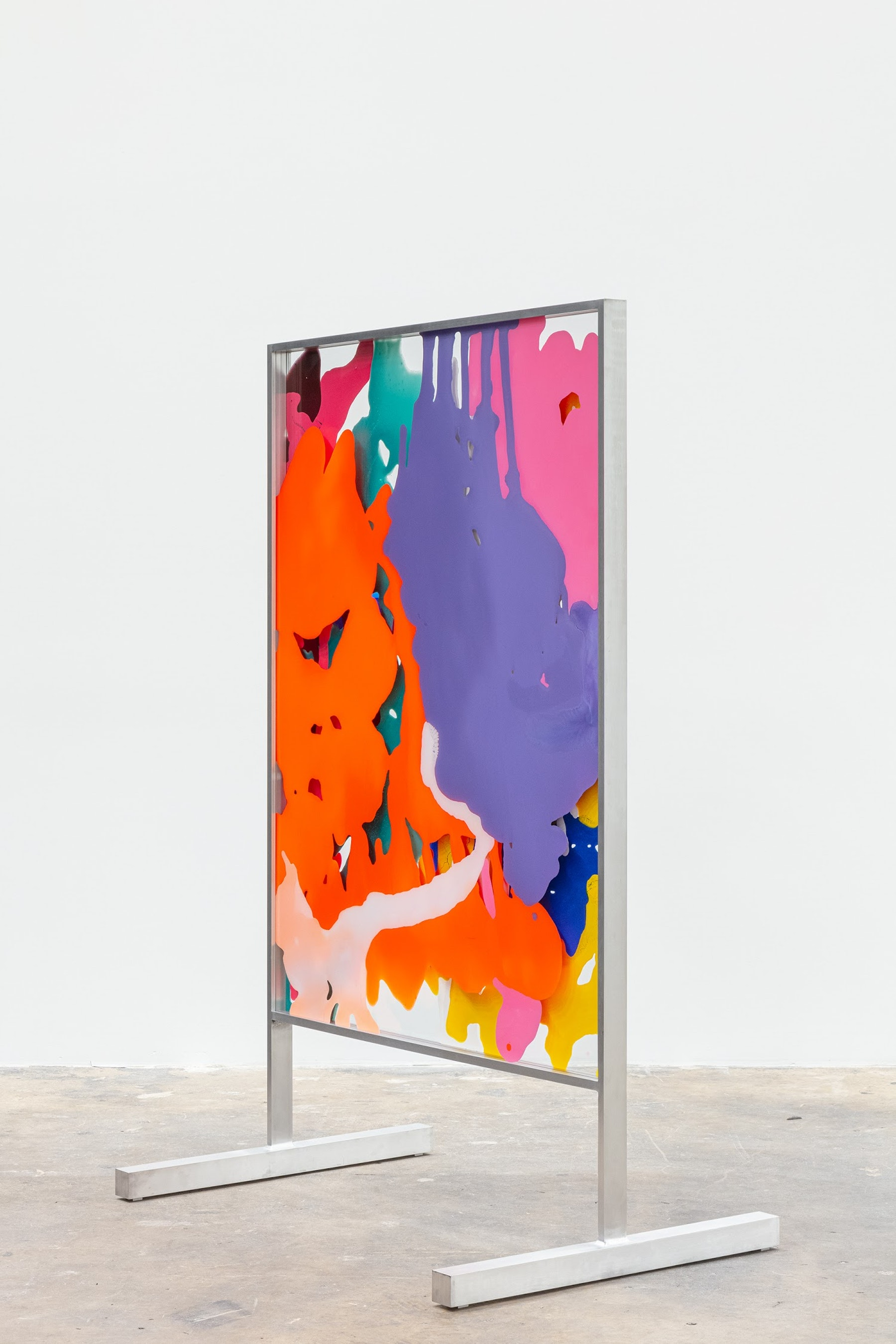 """Yunhee Min """"Vitreous Opacities (Double Floor #4),"""" 2021 Enamel, acrylic on tempered starphire glass with custom aluminum frame 65 ¹⁄₄"""" x 42 ¹⁄₄"""" x 28 ¹⁄₂"""" [HxWxD] (165.74 x 107.32 x 72.39 cm) Inventory #MIN358 Courtesy of the artist and Vielmetter Los Angeles Photo credit: Evan Bedford"""
