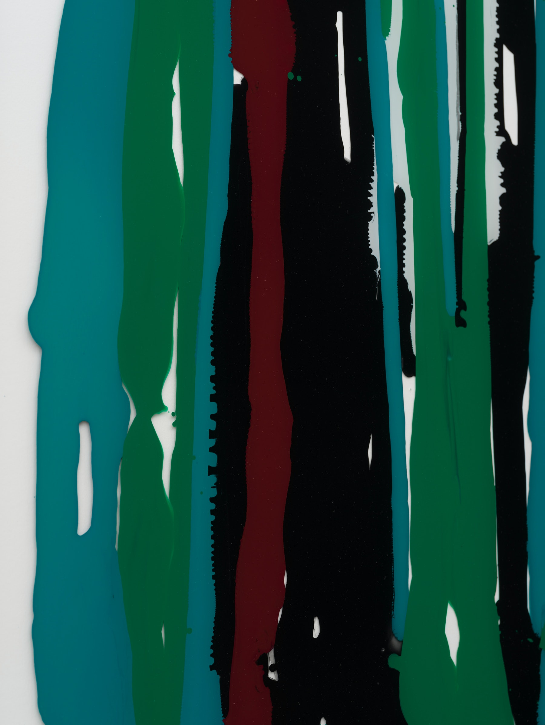 """Yunhee Min """"Untitled (Up and down with landscape),"""" 2021 Enamel, acrylic on starphire tempered glass with aluminum frame 40"""" x 40"""" [HxW] (101.6 x 101.6 cm) Inventory #MIN359 Courtesy of the artist and Vielmetter Los Angeles Photo credit: Jeff McLane"""