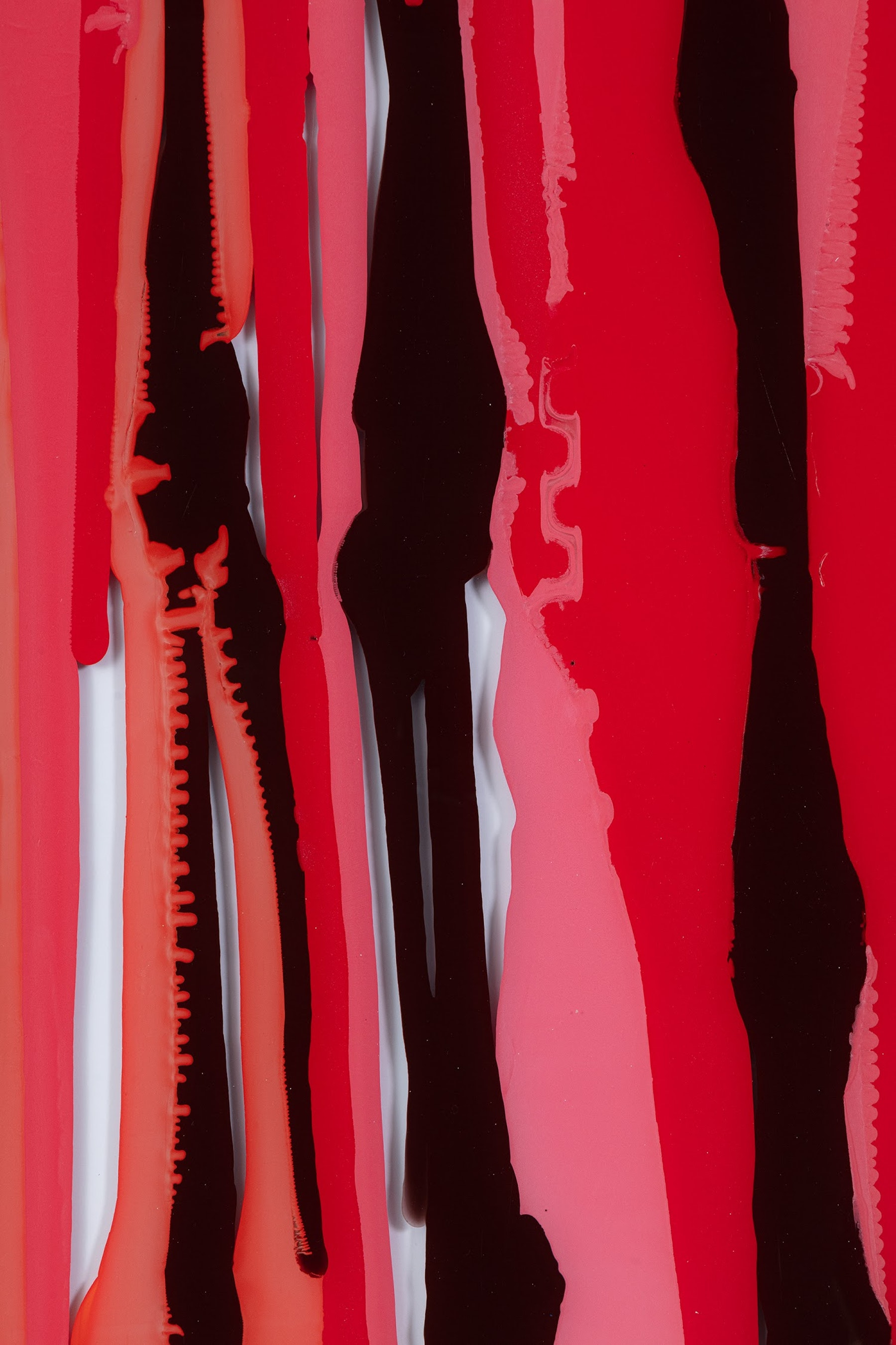 """Yunhee Min """"Untitled (up and down with red),"""" 2020 Enamel, acrylic on starphire tempered glass with aluminum frame 45 ¹⁄₄"""" x 34 ¹⁄₄"""" x 1 ¹⁄₂"""" [HxWxD] (114.94 x 87 x 3.81 cm) Inventory #MIN360 Courtesy of the artist and Vielmetter Los Angeles Photo credit: Evan Bedford"""