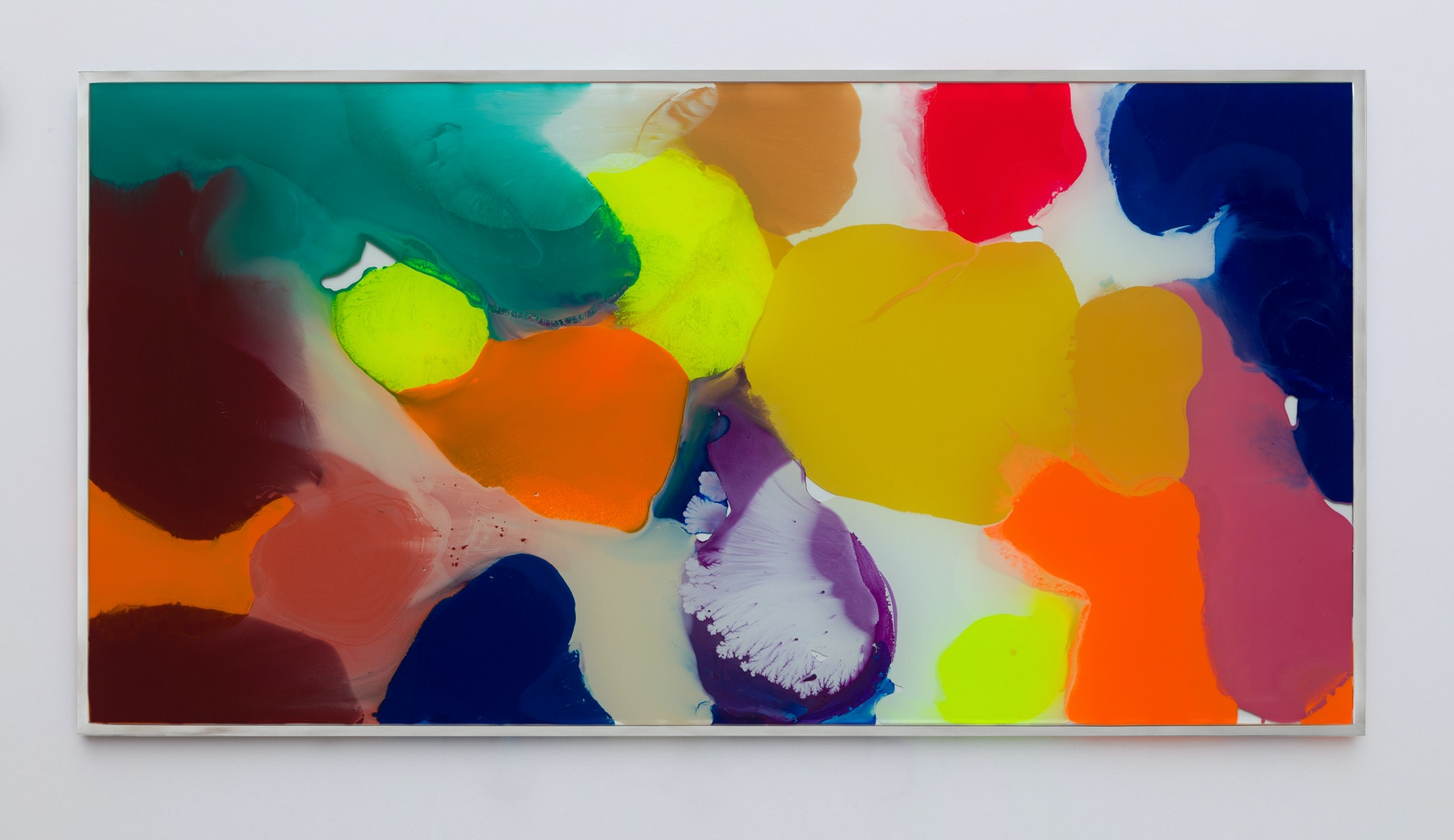 "Yunhee Min ""Up Close in Distance Study (variation study a3),"" 2018 Enamel on laminated glass 18.5 x 36.5"" [HxW] (46.99 x 92.71 cm) Inventory #MIN337 Courtesy of the artist and Vielmetter Los Angeles Photo credit: Brica Wilcox"