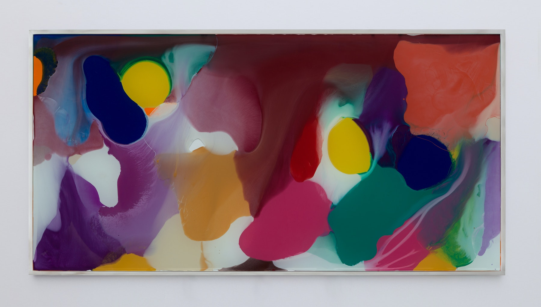 "Yunhee Min ""Up Close in Distance (variation study b3),"" 2018 Enamel on laminated glass 18.5 x 36.5"" [HxW] (46.99 x 92.71 cm) Inventory #MIN338 Courtesy of the artist and Vielmetter Los Angeles Photo credit: Brica Wilcox"