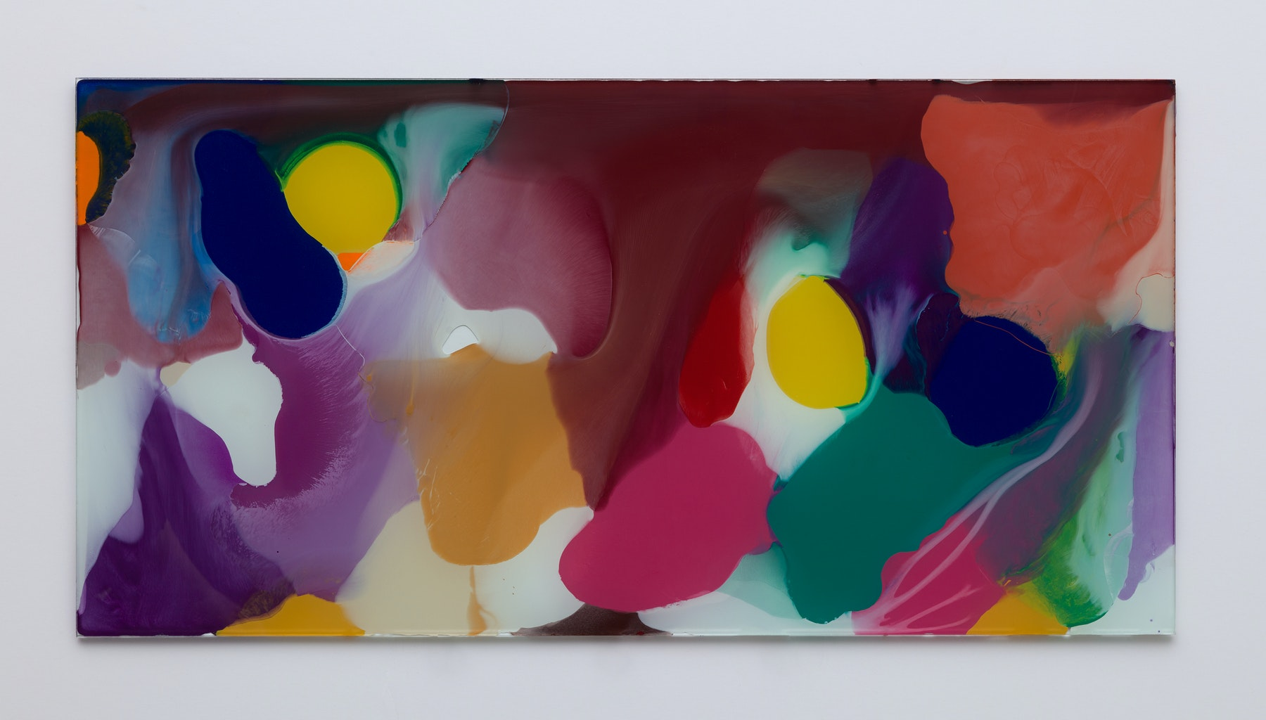 """Yunhee Min """"Up Close in Distance (variation study b3),"""" 2018 Enamel on laminated glass 18.5 x 36.5"""" [HxW] (46.99 x 92.71 cm) Inventory #MIN338 Courtesy of the artist and Vielmetter Los Angeles Photo credit: Brica Wilcox"""