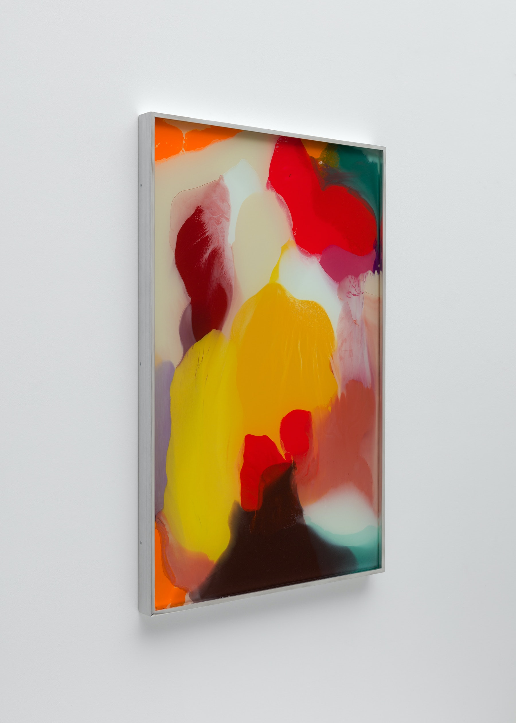 """Yunhee Min """"Up Close in Distance (variation study b4),"""" 2018 Enamel on laminated glass 34.5 x 22.5"""" [HxW] (87.63 x 57.15 cm) Inventory #MIN341 Courtesy of the artist and Vielmetter Los Angeles Photo credit: Brica Wilcox"""