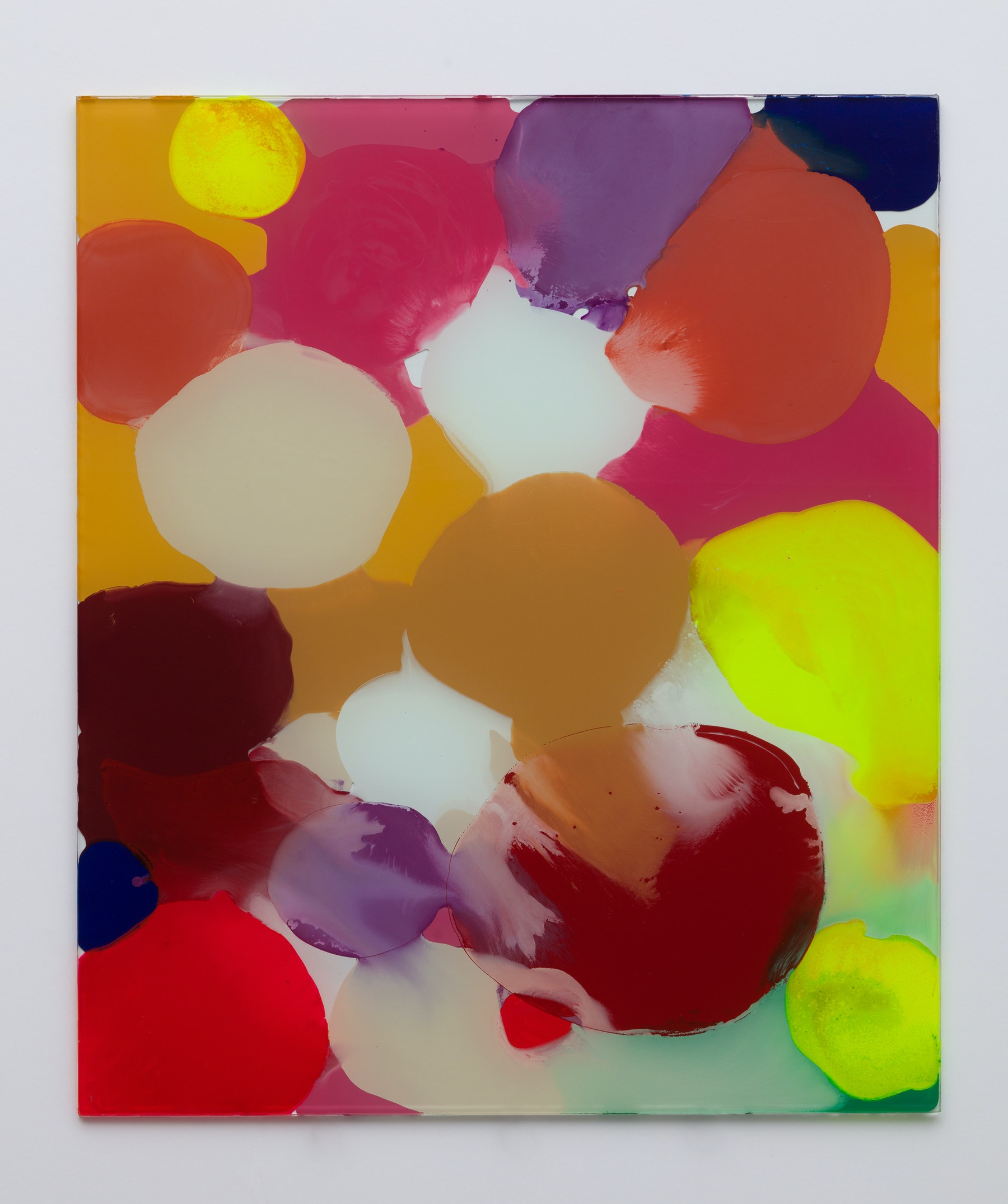 """Yunhee Min """"Up Close in Distance (variation study a2),"""" 2018 Enamel on laminated glass 30 x 25"""" [HxW] (76.2 x 63.5 cm) Inventory #MIN343 Courtesy of the artist and Vielmetter Los Angeles Photo credit: Brica Wilcox"""