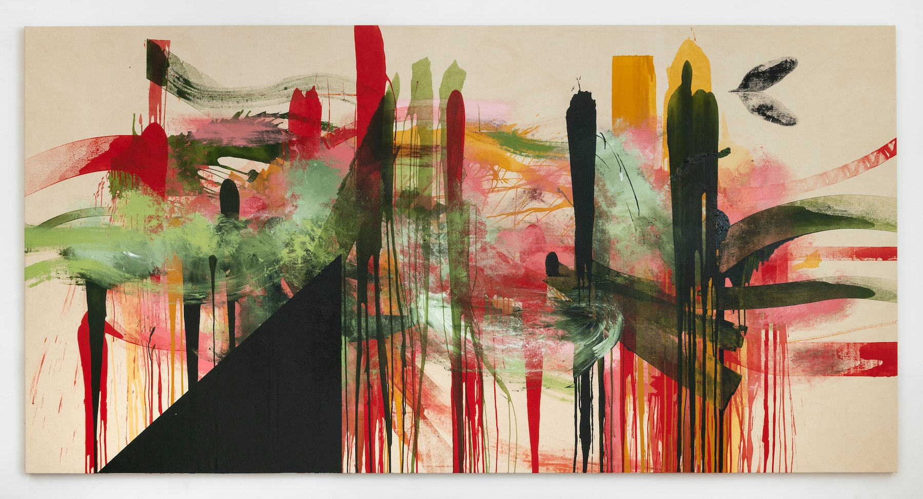 """Elizabeth Neel """"Facing the Further,"""" 2020 Acrylic on canvas 78"""" x 12' 6"""" [HxW] (198.12 x 381 cm) Inventory #NEE252 Courtesy of the artist and Vielmetter Los Angeles Photocredit Adam Reich, NY"""