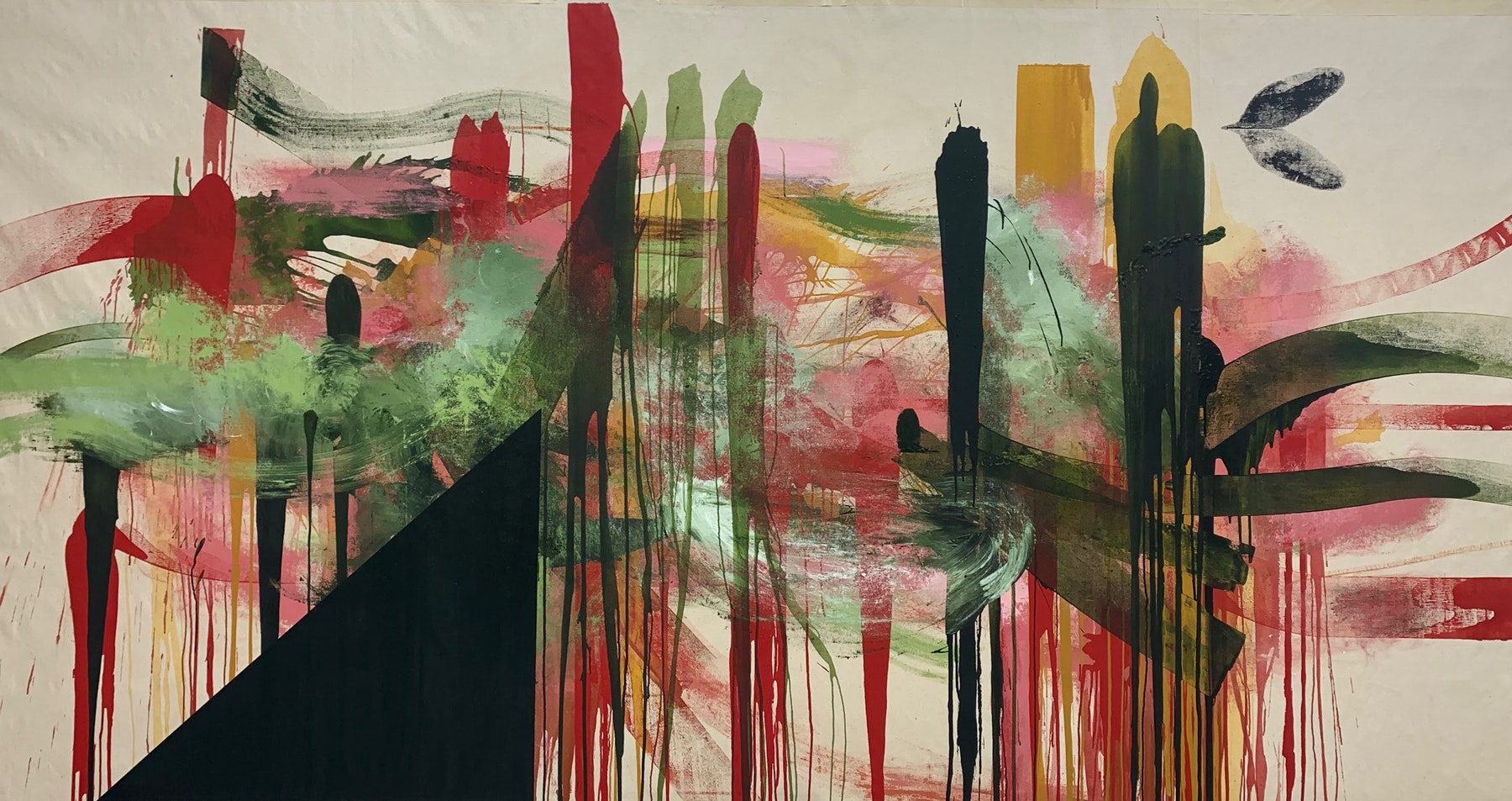 """Elizabeth Neel """"Facing the Further,"""" 2020 Acrylic on canvas 78 x 150"""" [HxW] (198.12 x 381 cm) Inventory #NEE252 Courtesy of the artist and Vielmetter Los Angeles Photocredit Adam Reich, NY"""