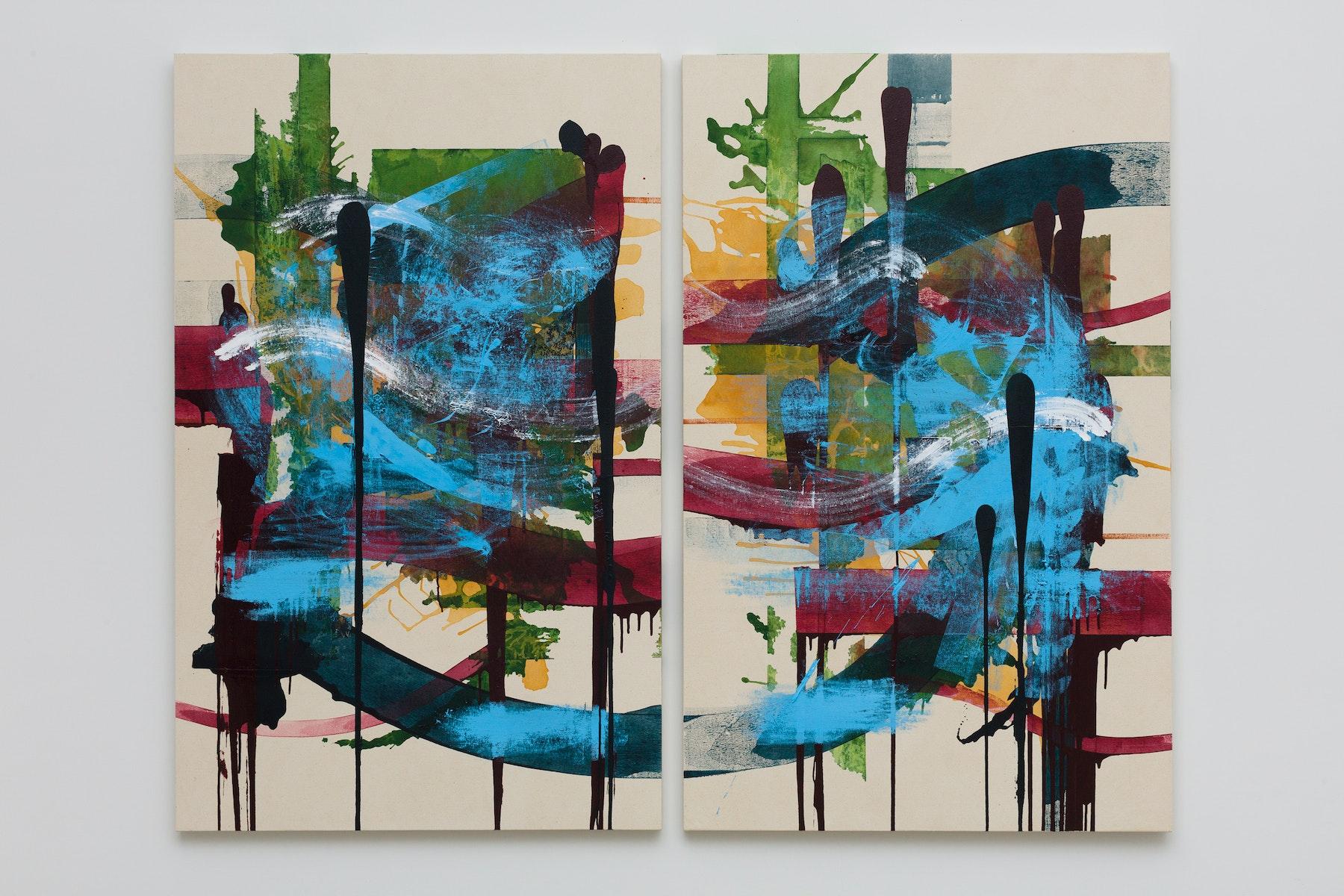 "Elizabeth Neel ""Down Boy Blue,"" 2019 Acrylic on canvas Diptych, Each 72 x 45"" [HxW] (182.88 x 114.3 cm) Inventory #NEE236 Courtesy of the artist and Vielmetter Los Angeles Photo credit: Jeff McLane"