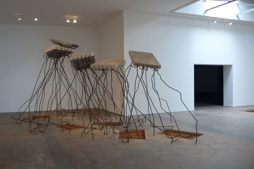 "Ruben Ochoa ""hummin'""¦ comin' at cha""¦,"" 2009 Concrete slab, rebar, dirt approx.10 feet high x 157"" wide x 269"" long"