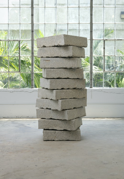 "Ruben Ochoa ""A bit of detritus,"" 2011 Concrete, metal and dirt 80"" H x 32"" W x 32"" D (203.2 cm H x 81.28 cm W x 81.28 cm D)"