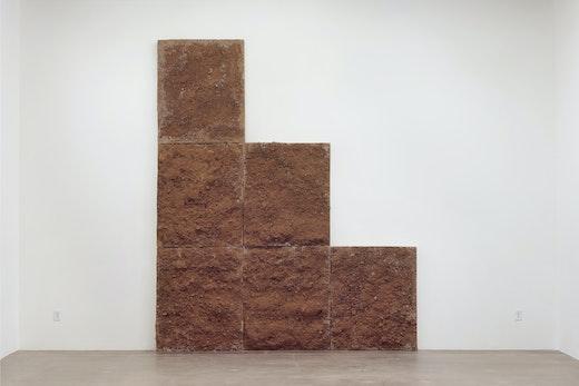 "Ruben Ochoa ""If only the world was flat,"" 2013 Concrete, steel and dirt 143"" H x 120"" W x 7.25"" D (363.22 cm H x 304.8 cm W x 18.42 cm D)"