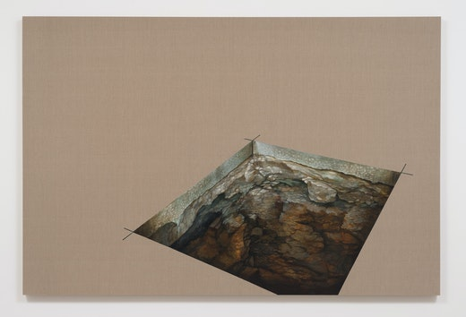 """Ruben Ochoa """"...and the earth was without form and void,"""" 2013 Acrylic on raw linen 72"""" H x 108"""" W x 2"""" D (182.88 cm H x 274.32 cm W x 5.08 cm D) unframed"""