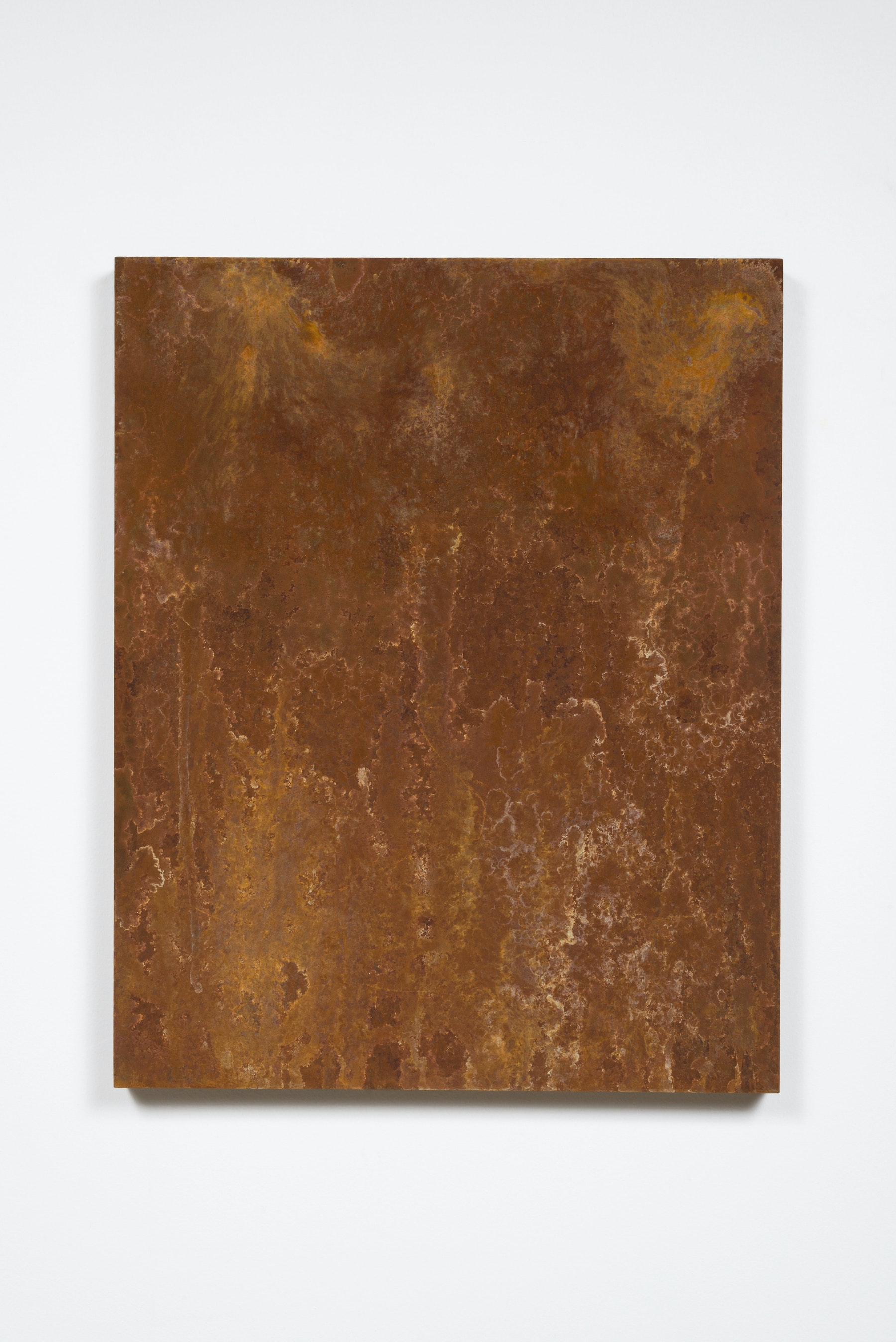 "Ruben Ochoa ""Fuuugh, reminds me of my dad's truck,"" 2015 - 2016 Rust on panel 30"" H x 24"" W (76.2 cm H x 60.96 cm W) Inventory #OCH326 Courtesy of the artist and Vielmetter Los Angeles Photo credit: Jeff McLane"