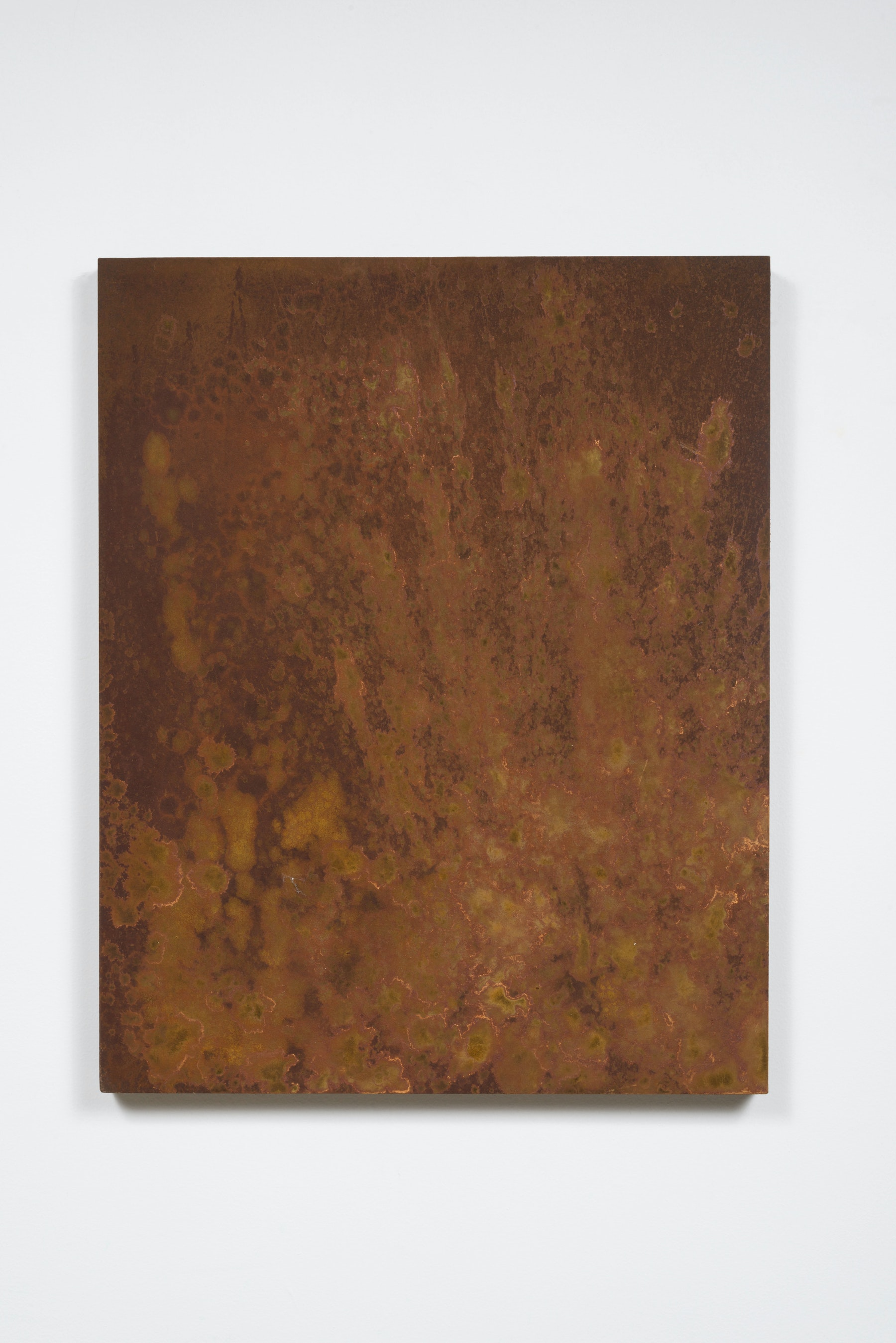 "Ruben Ochoa ""Ha! Just like my neighbor's car,"" 2015 - 2016 Rust on panel 30"" H x 24"" W (76.2 cm H x 60.96 cm W) Inventory #OCH327 Courtesy of the artist and Vielmetter Los Angeles Photo credit: Jeff McLane"